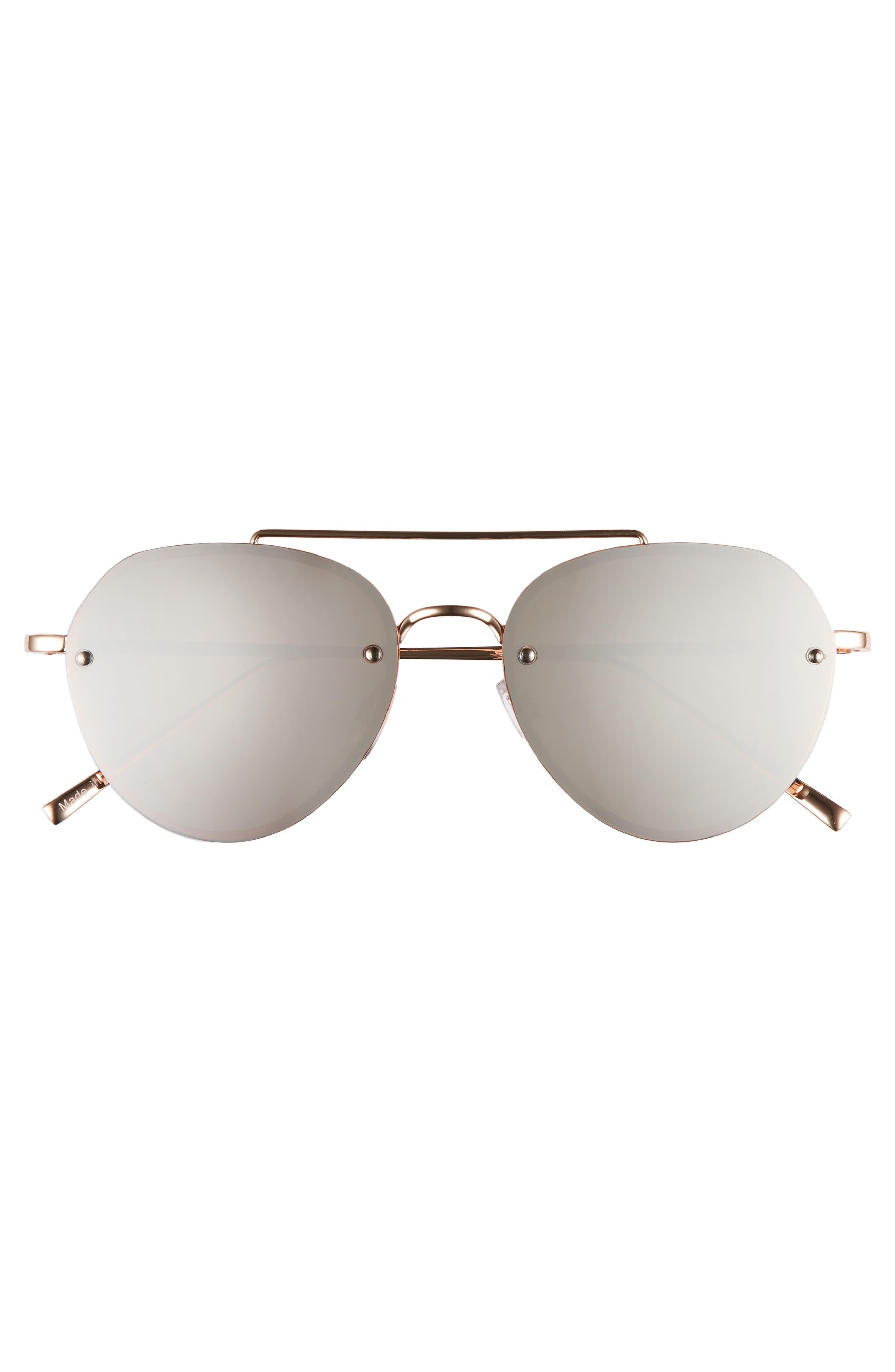 Gradient Petite Aviator Sunglasses,                             Alternate thumbnail 3, color,                             ROSE / GOLD