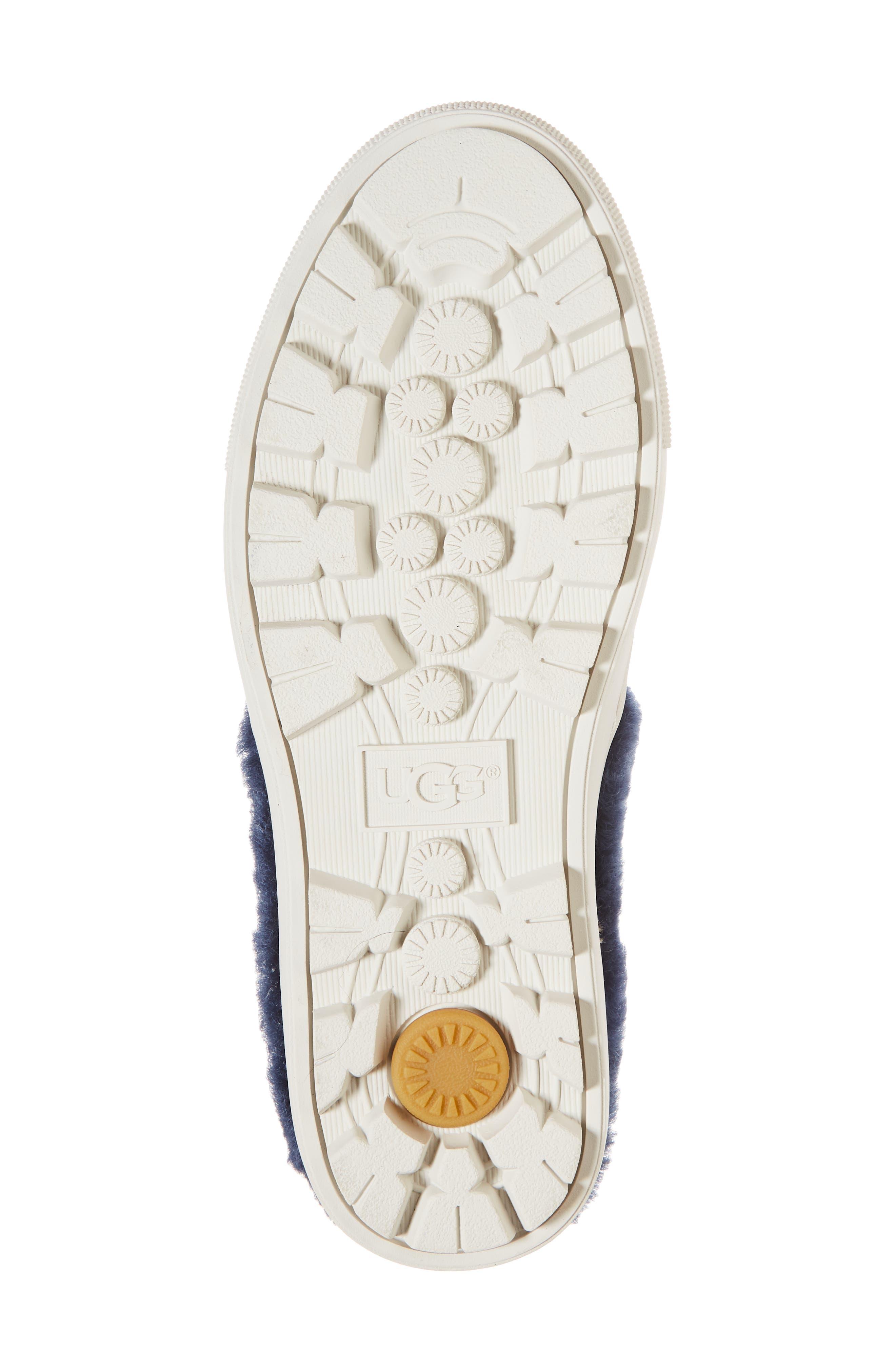 Patch It Genuine Shearling Trim Slip-On Sneaker,                             Alternate thumbnail 6, color,                             BLEACH DENIM