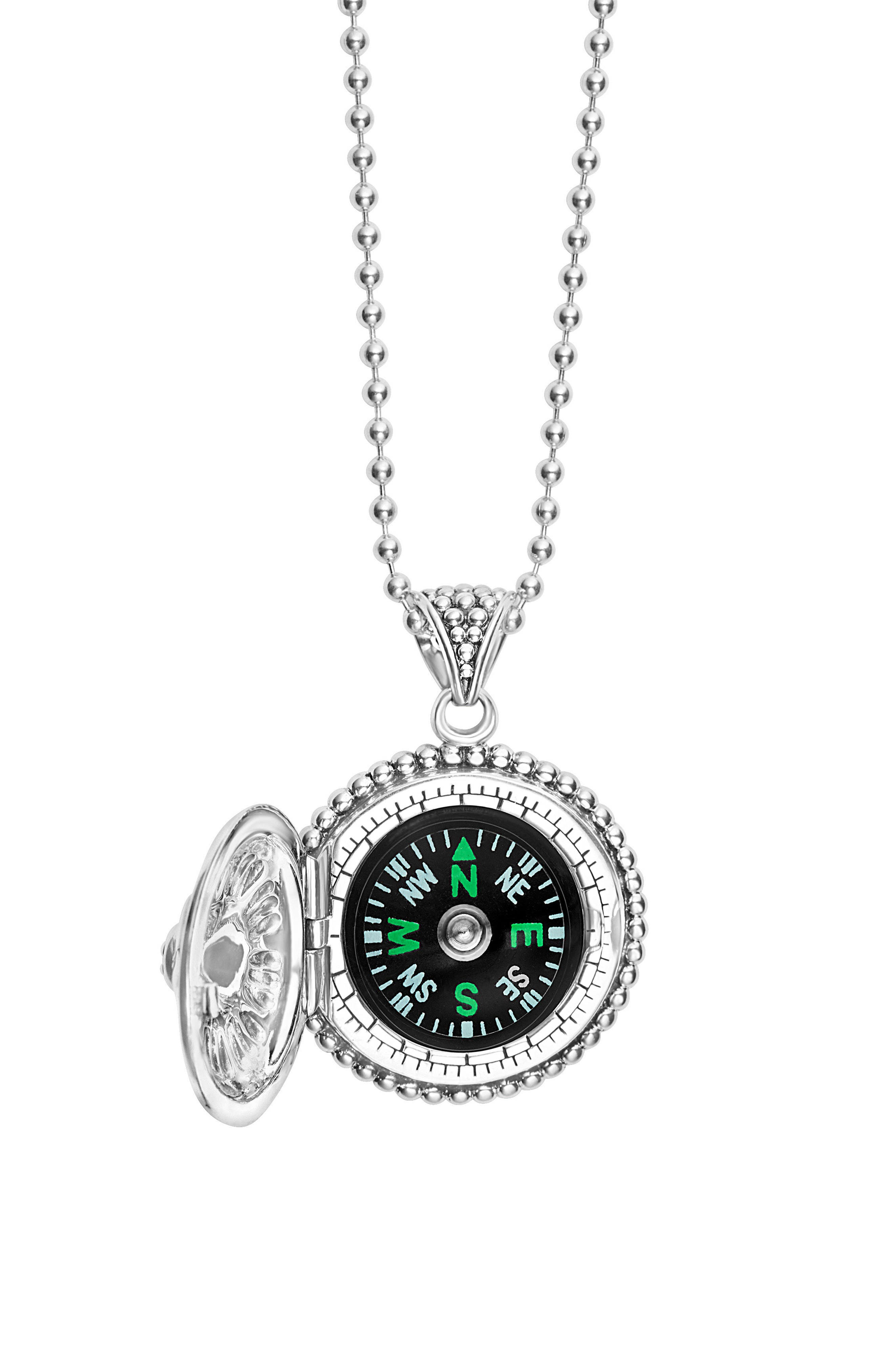 Signature Caviar Compass Pendant Necklace,                             Alternate thumbnail 4, color,                             SILVER