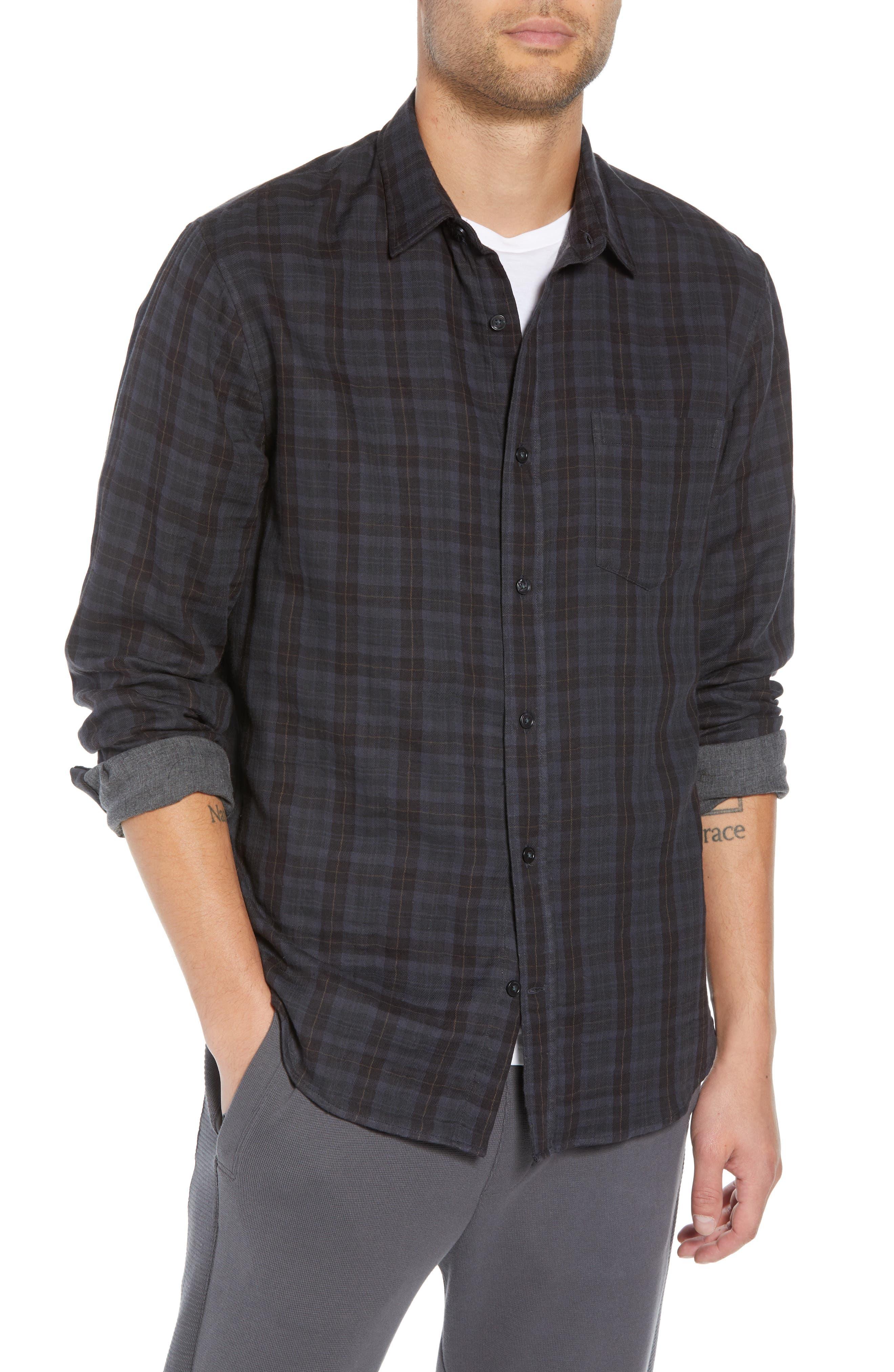 Slim Fit Plaid Double Knit Sport Shirt,                         Main,                         color, SLATE