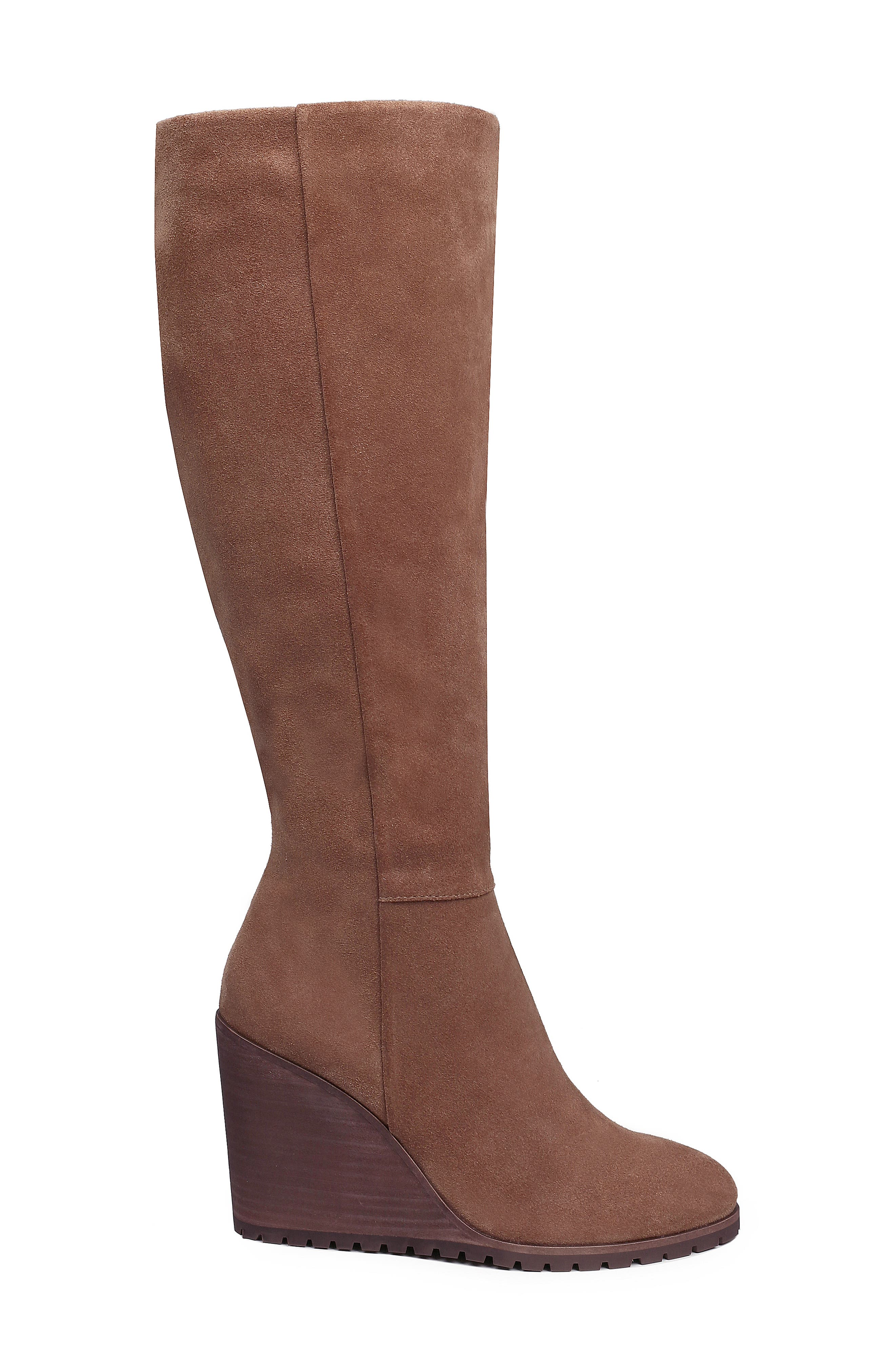Cleveland Wedge Boot,                             Alternate thumbnail 3, color,                             LIGHT BROWN SUEDE