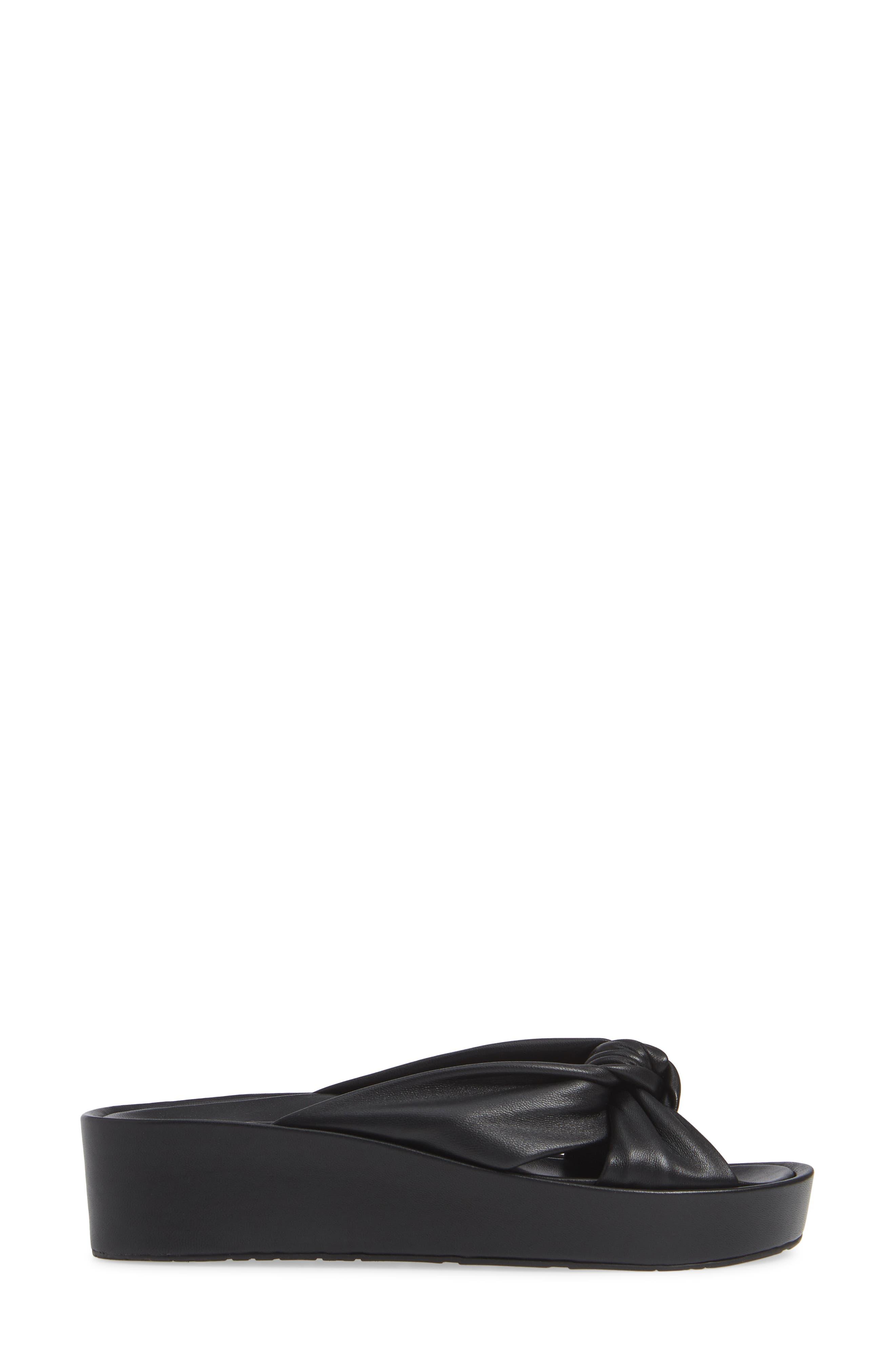 Lany Platform Slide Sandal,                             Alternate thumbnail 3, color,                             BLACK LEATHER