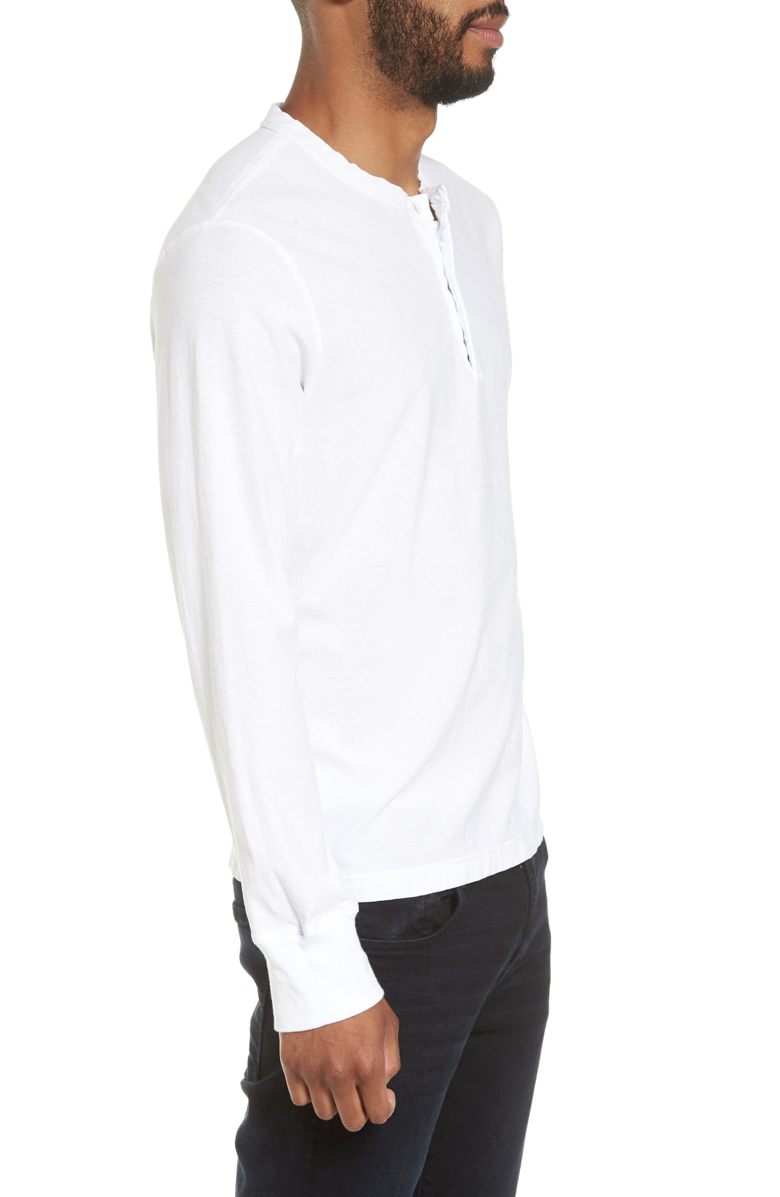 Classic High Twist Jersey Henley,                             Alternate thumbnail 3, color,                             100