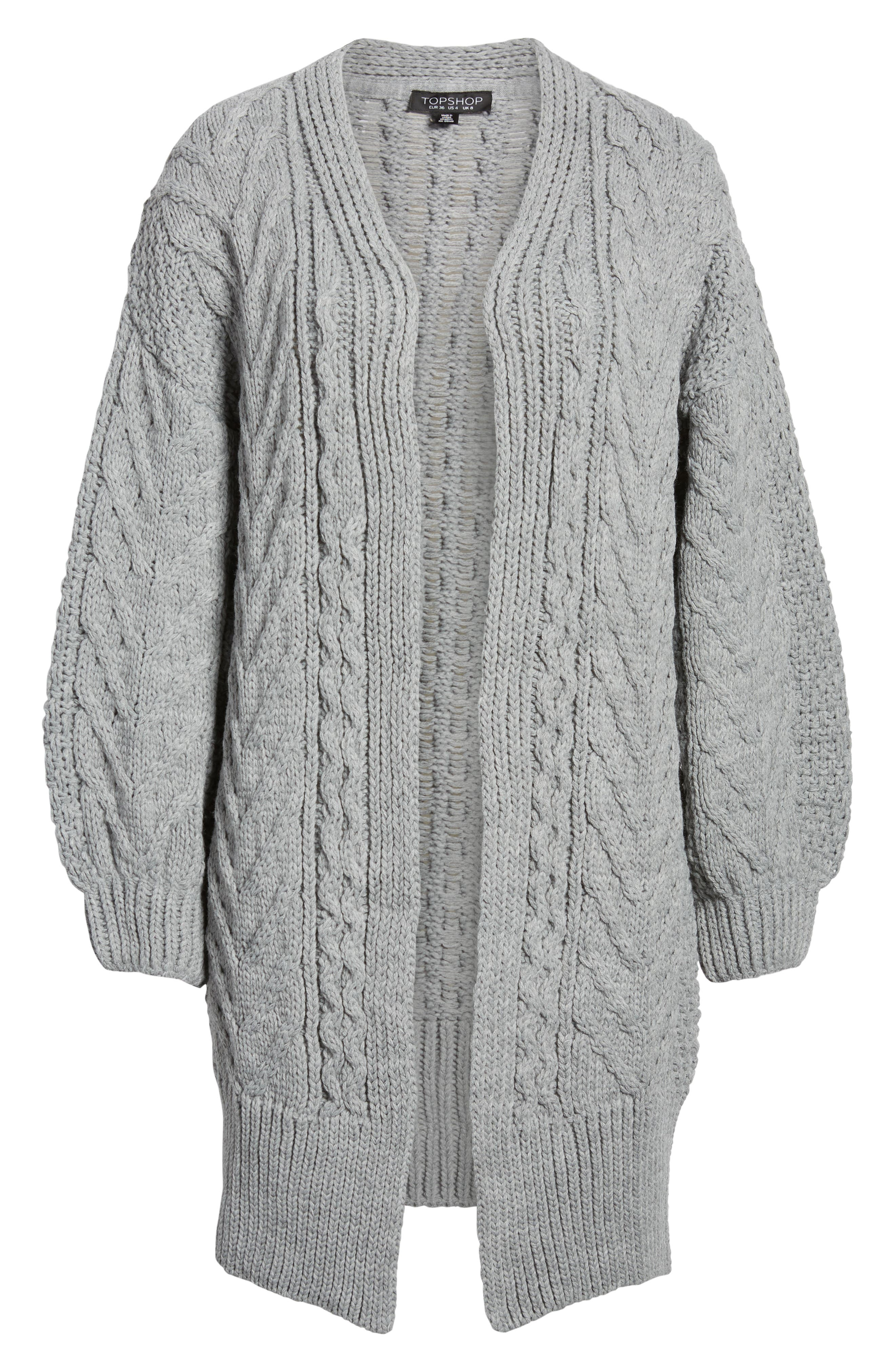 Long Open Front Cardi,                             Alternate thumbnail 2, color,                             GREY