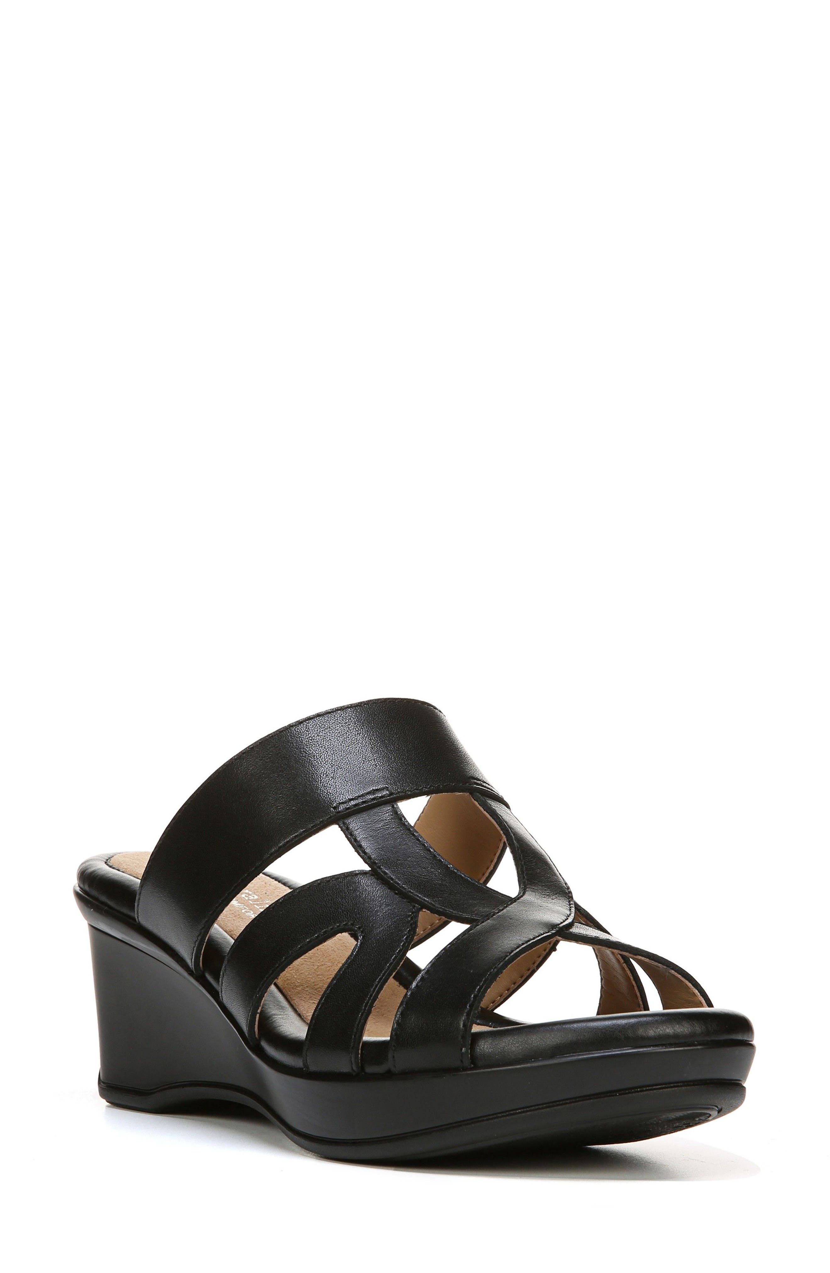 Vanity Wedge Sandal,                             Main thumbnail 1, color,                             BLACK LEATHER