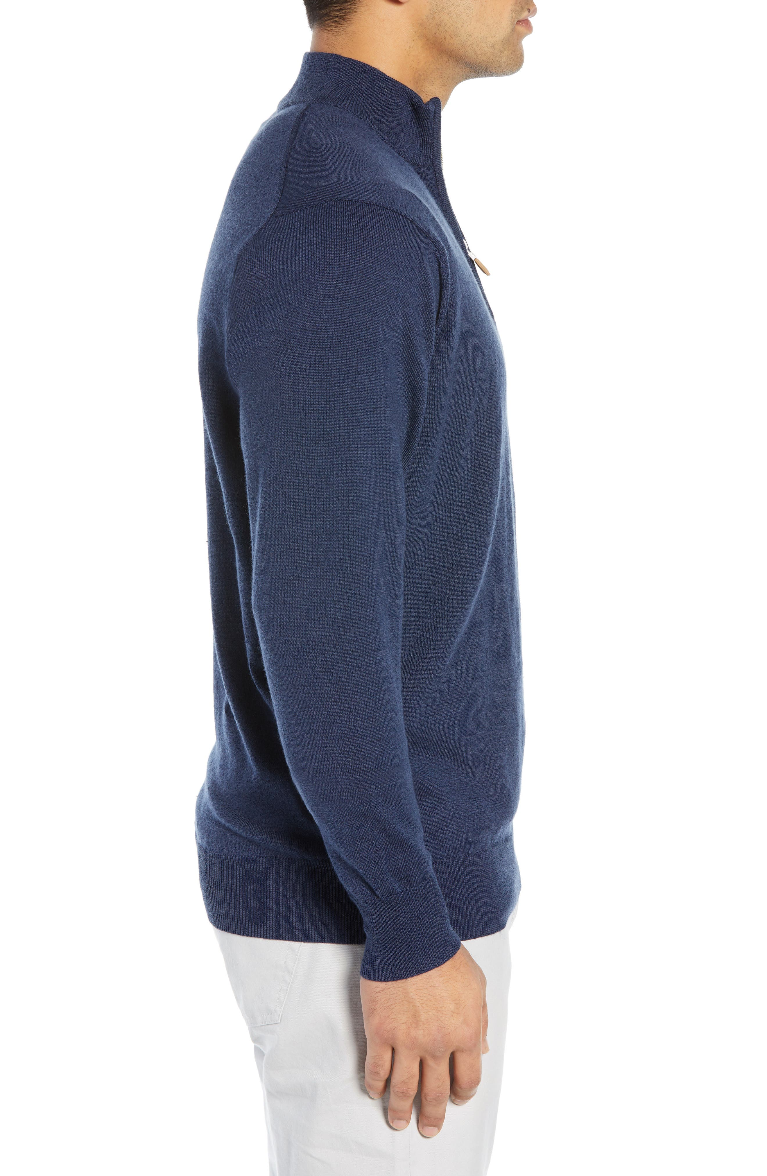 PETER MILLAR,                             Regular Fit Half Zip Wool & Linen Pullover,                             Alternate thumbnail 3, color,                             410