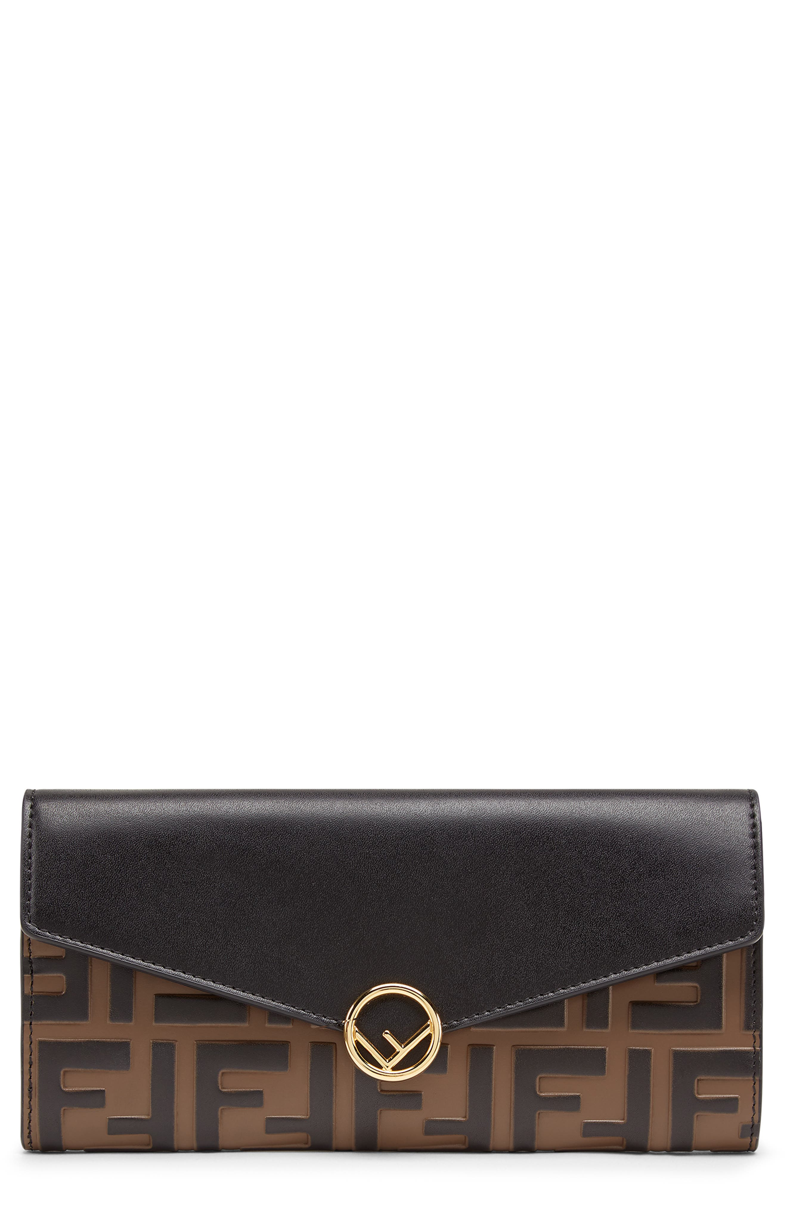 FENDI,                             Logo Calfskin Leather Continental Wallet,                             Main thumbnail 1, color,                             NERO/ MAYA