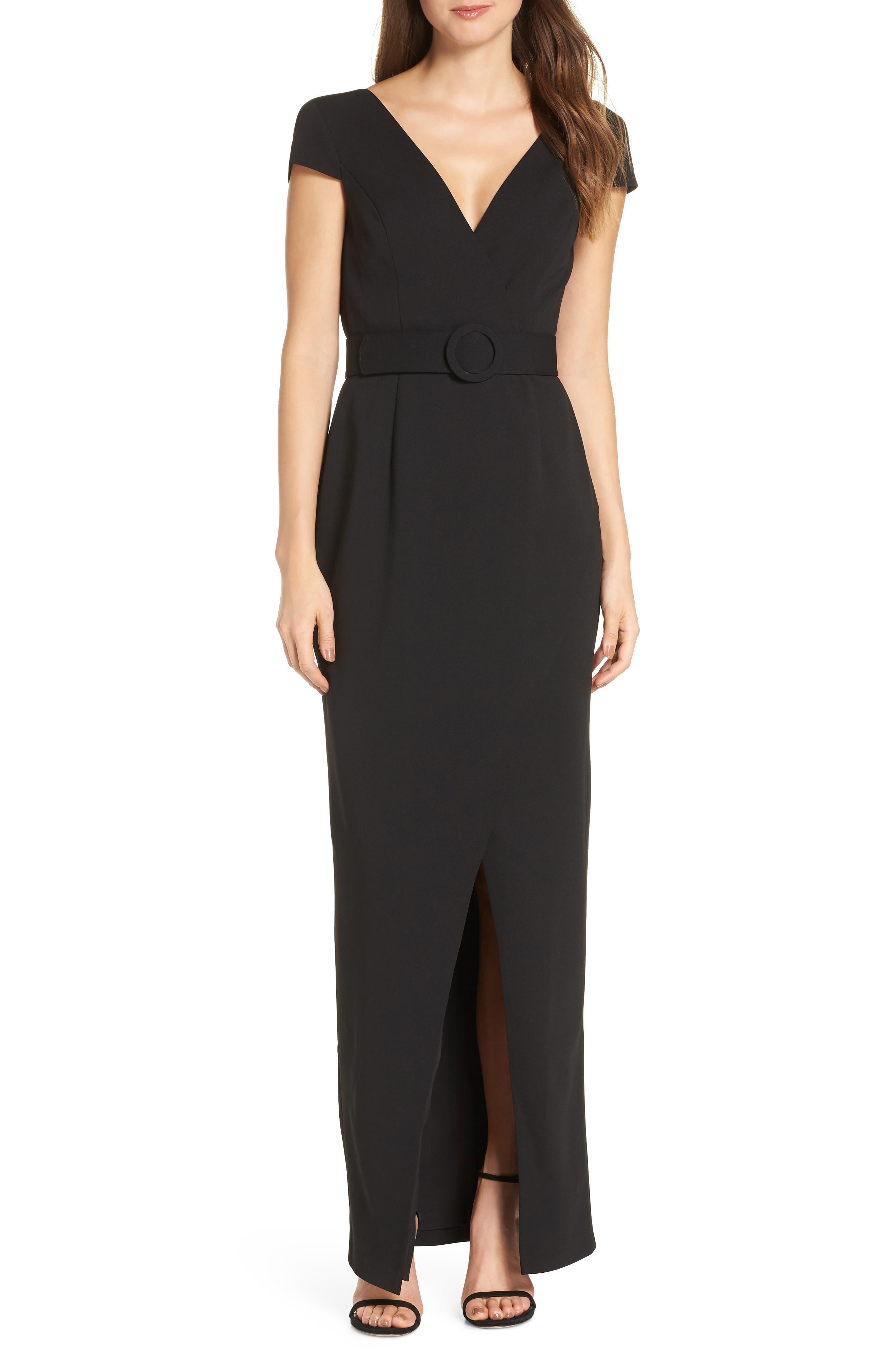 Vince Camuto Belted V-Neck Evening Dress, Black