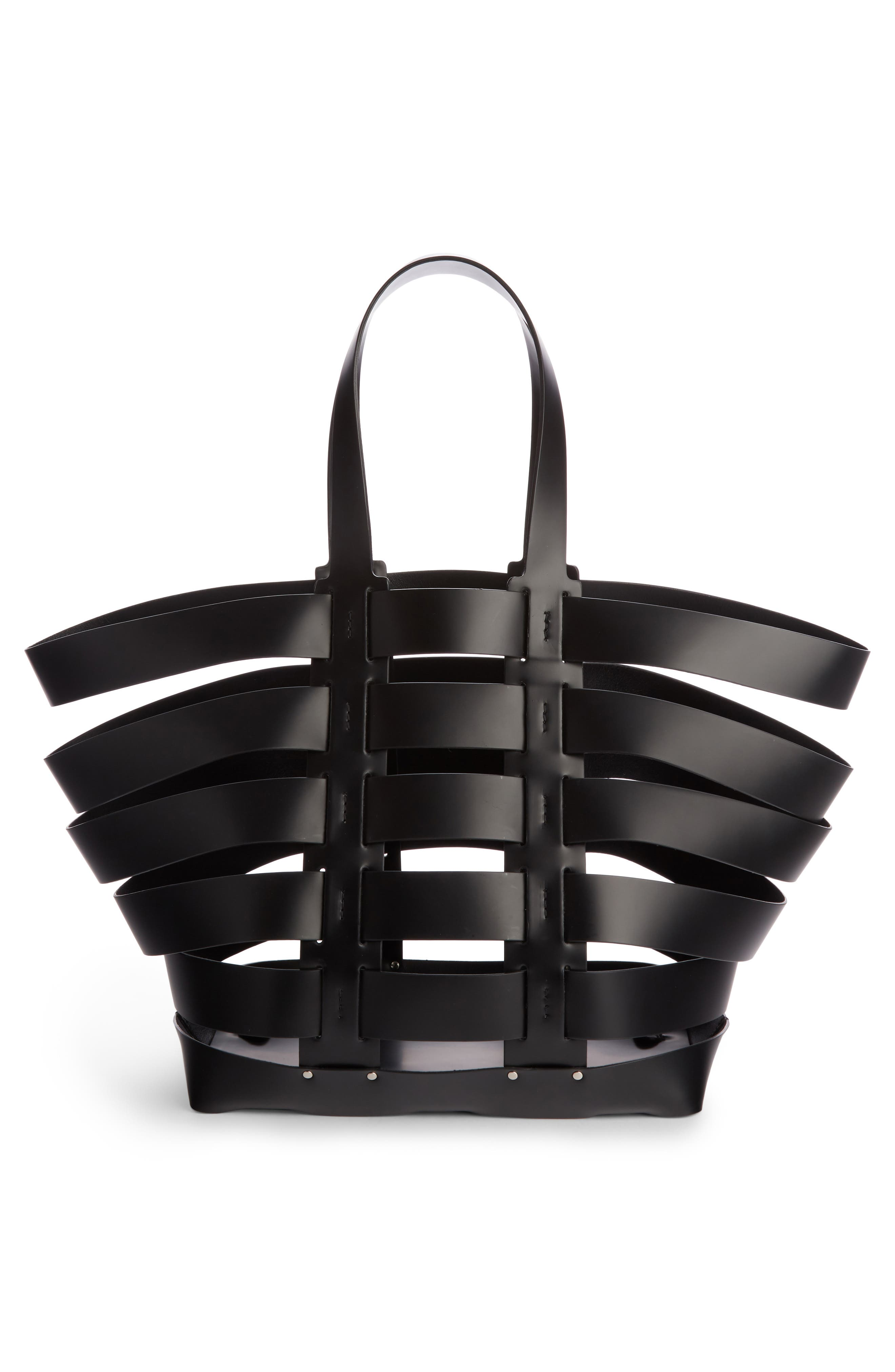 Cage Leather & Canvas Tote,                             Alternate thumbnail 4, color,                             BLACK