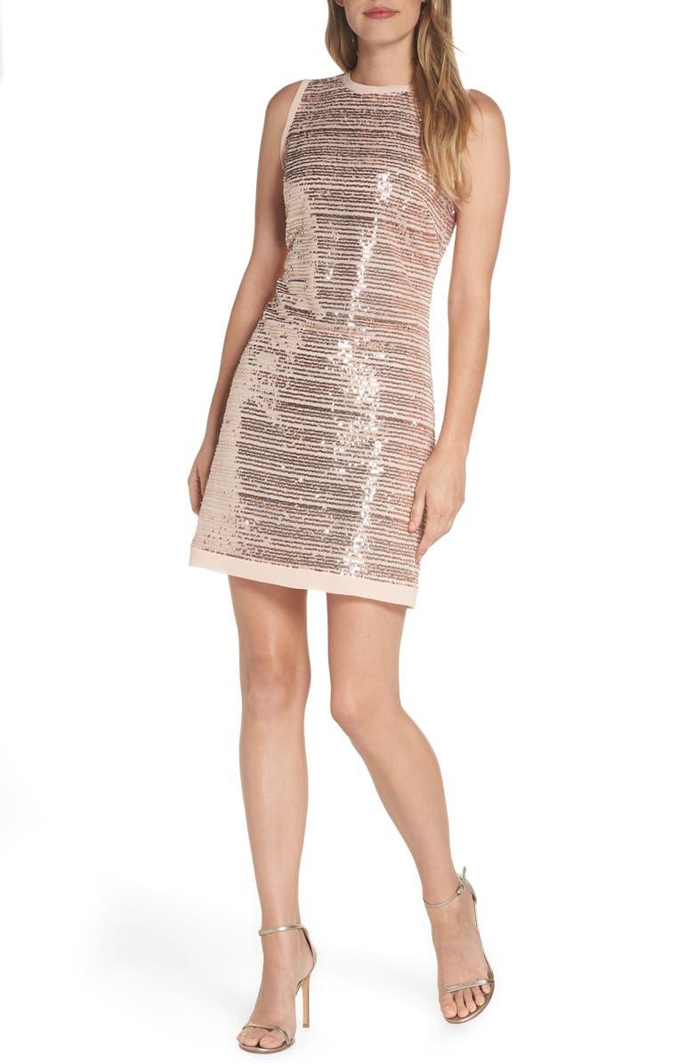 Sequin Mesh Sheath Dress,                        Main,                         color, BLUSH