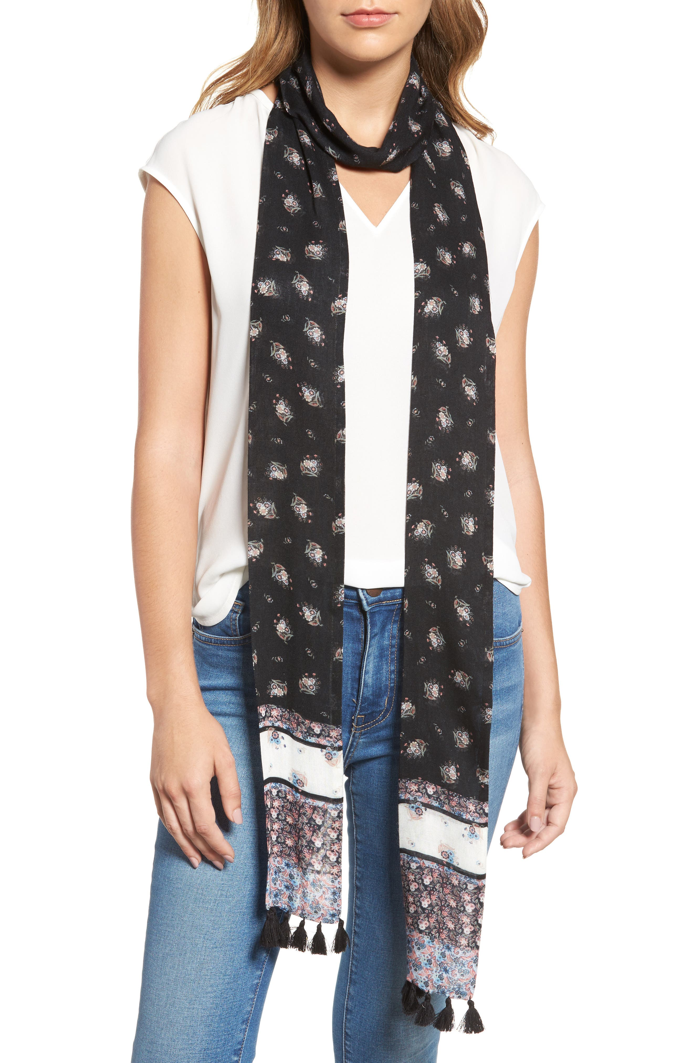 Ditsy Floral Skinny Scarf,                         Main,                         color,