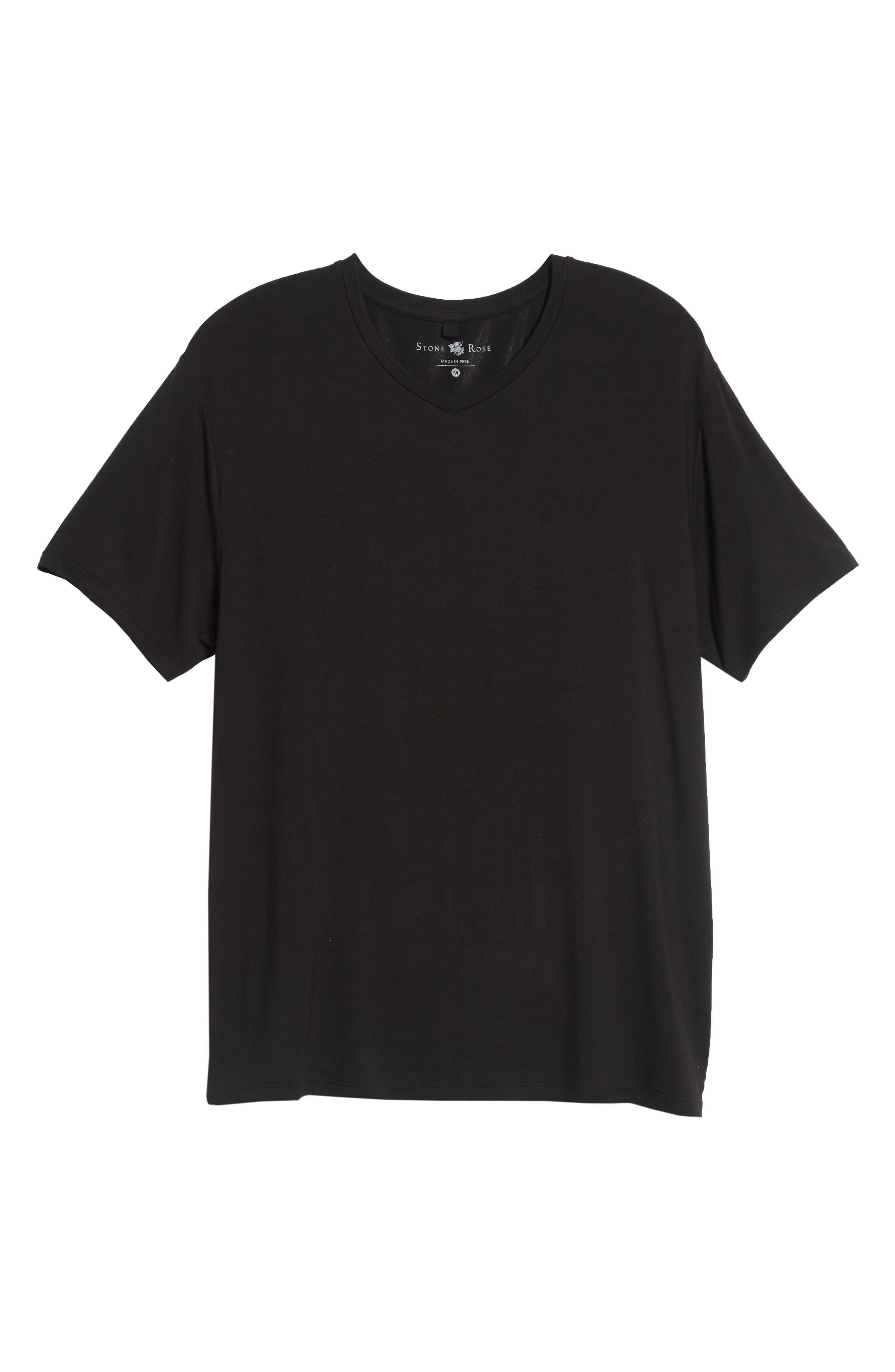 V-Neck Modal T-Shirt,                             Alternate thumbnail 6, color,                             BLACK