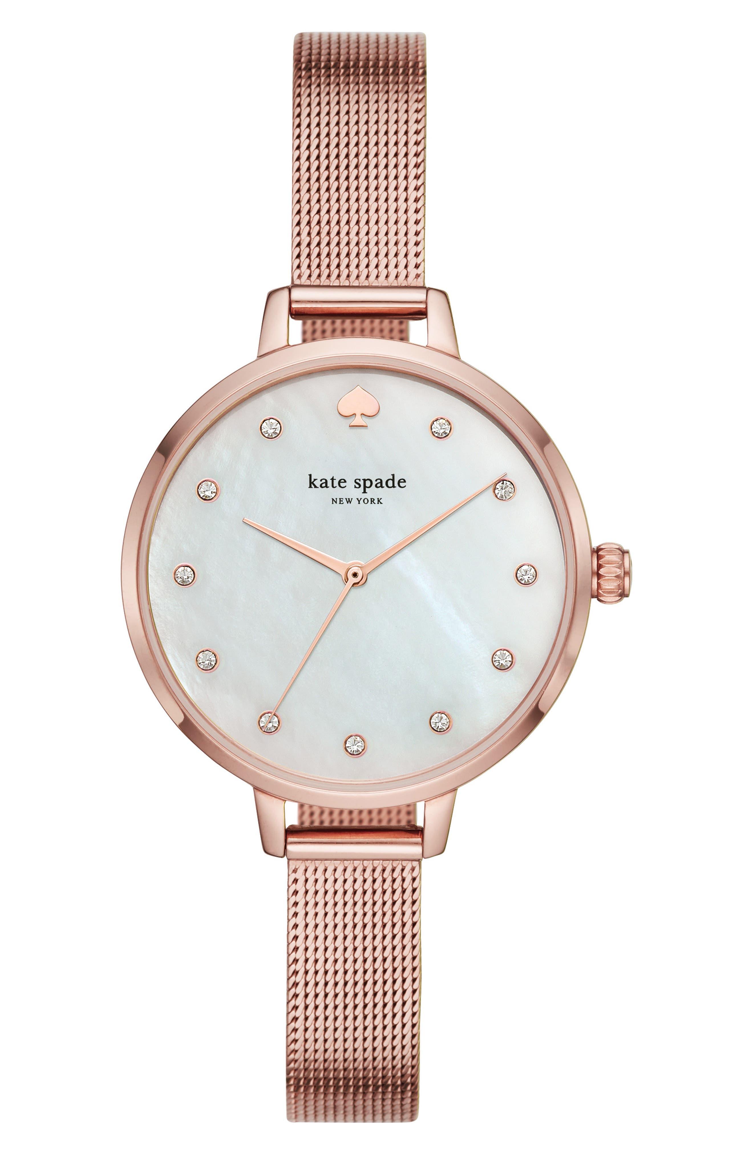 KATE SPADE NEW YORK,                             metro mesh bracelet watch, 34mm,                             Main thumbnail 1, color,                             ROSE GOLD/ MOP/ ROSE GOLD