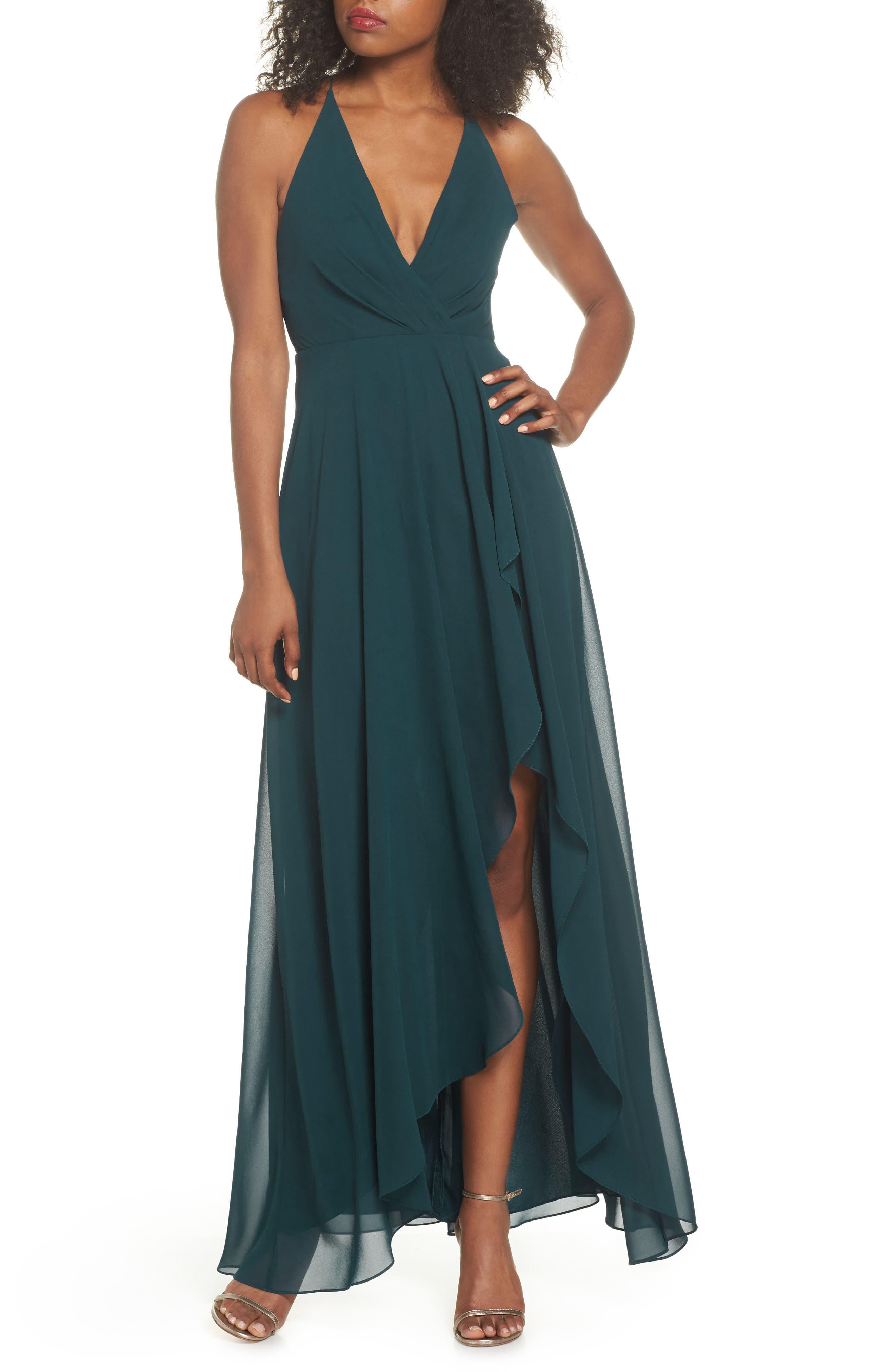 Jenny Yoo Farrah Ruffle Skirt Chiffon Gown, Green