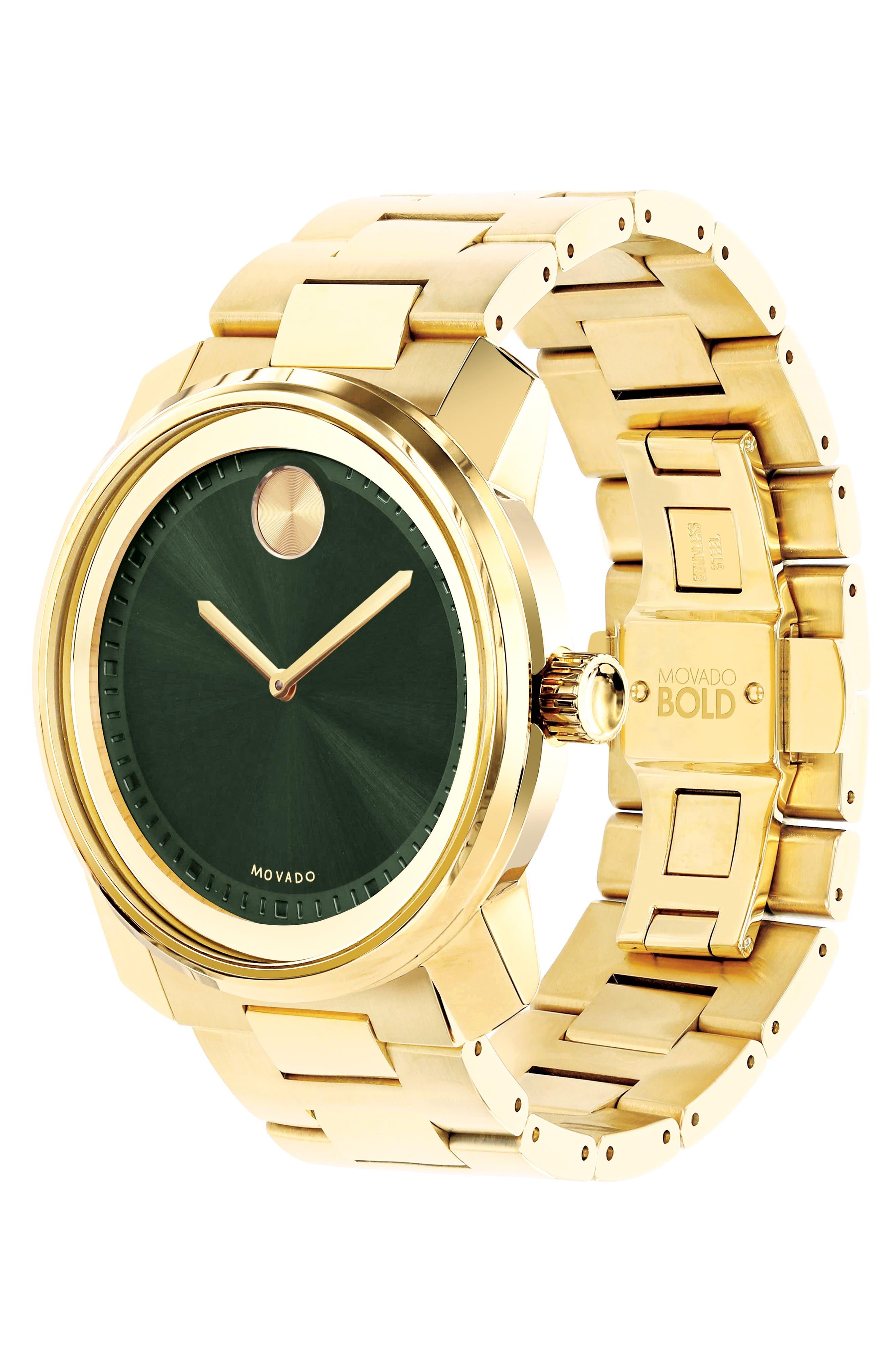 'Bold' Bracelet Watch, 43mm,                             Alternate thumbnail 3, color,                             GOLD/ GREEN/ GOLD