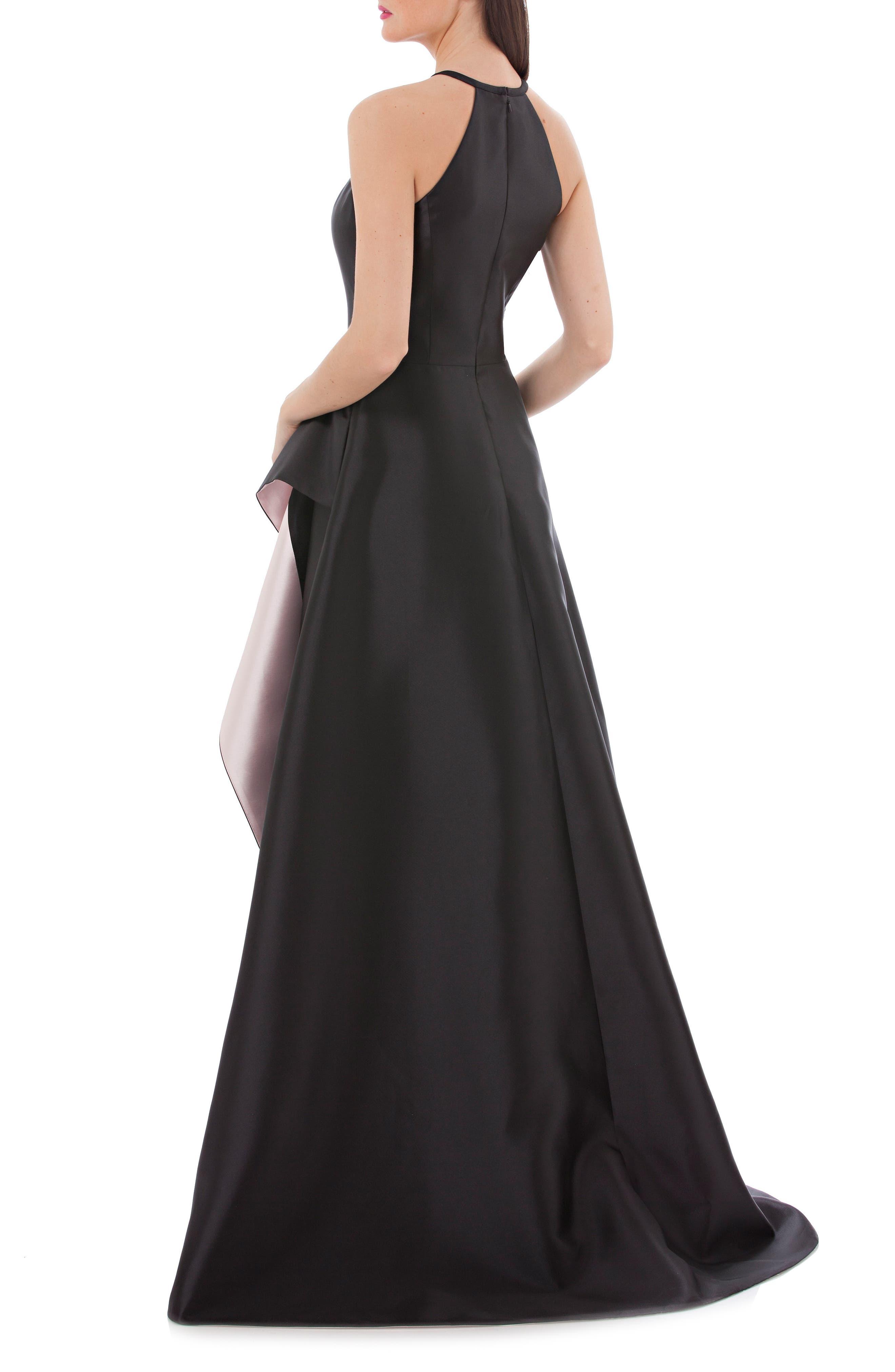 Carmen Marc Valvo Side Drape Mikado Halter Gown,                             Alternate thumbnail 2, color,