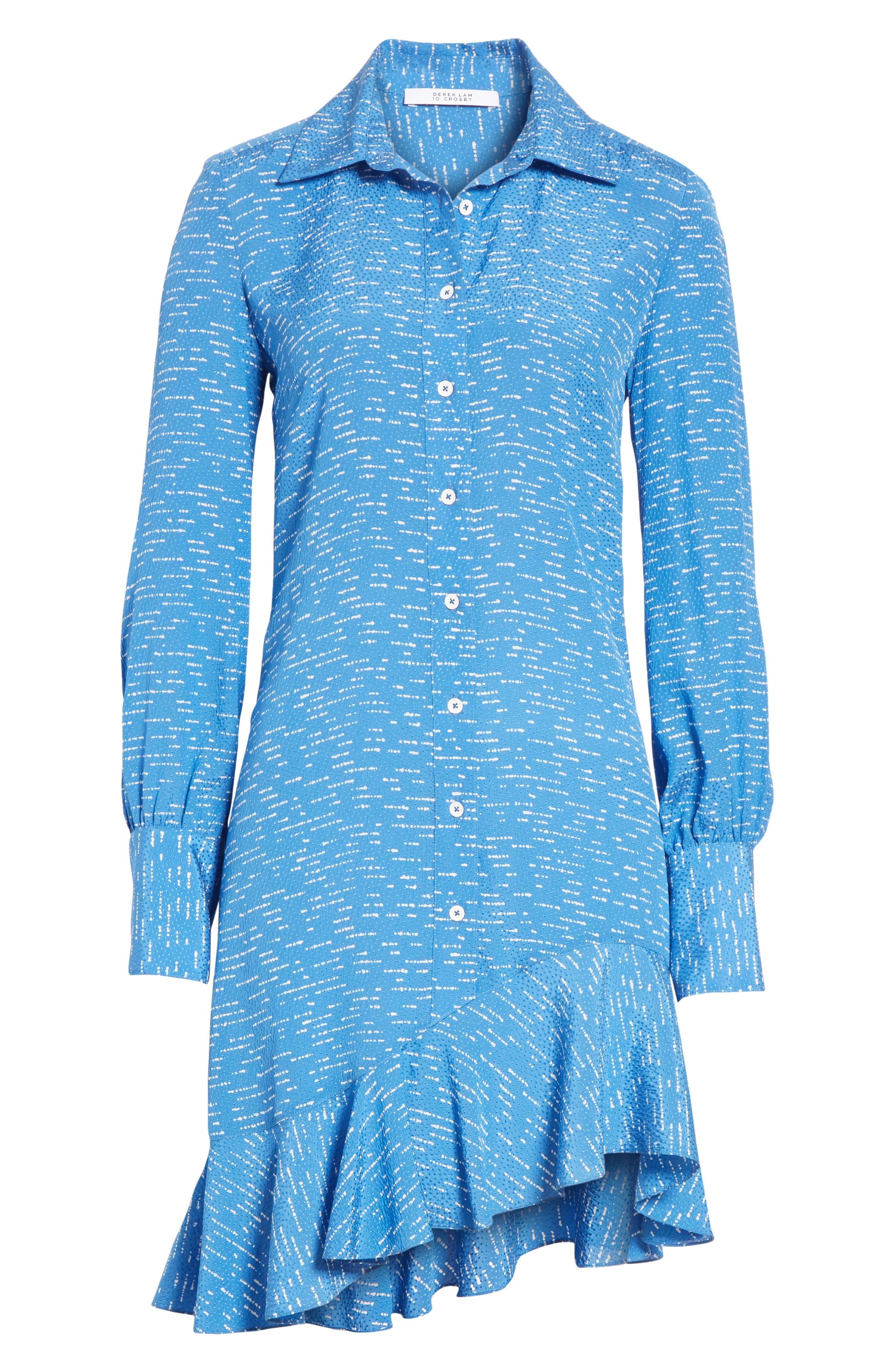 Silk Shirtdress with Asymmetric Hem,                             Alternate thumbnail 6, color,                             BALTIC