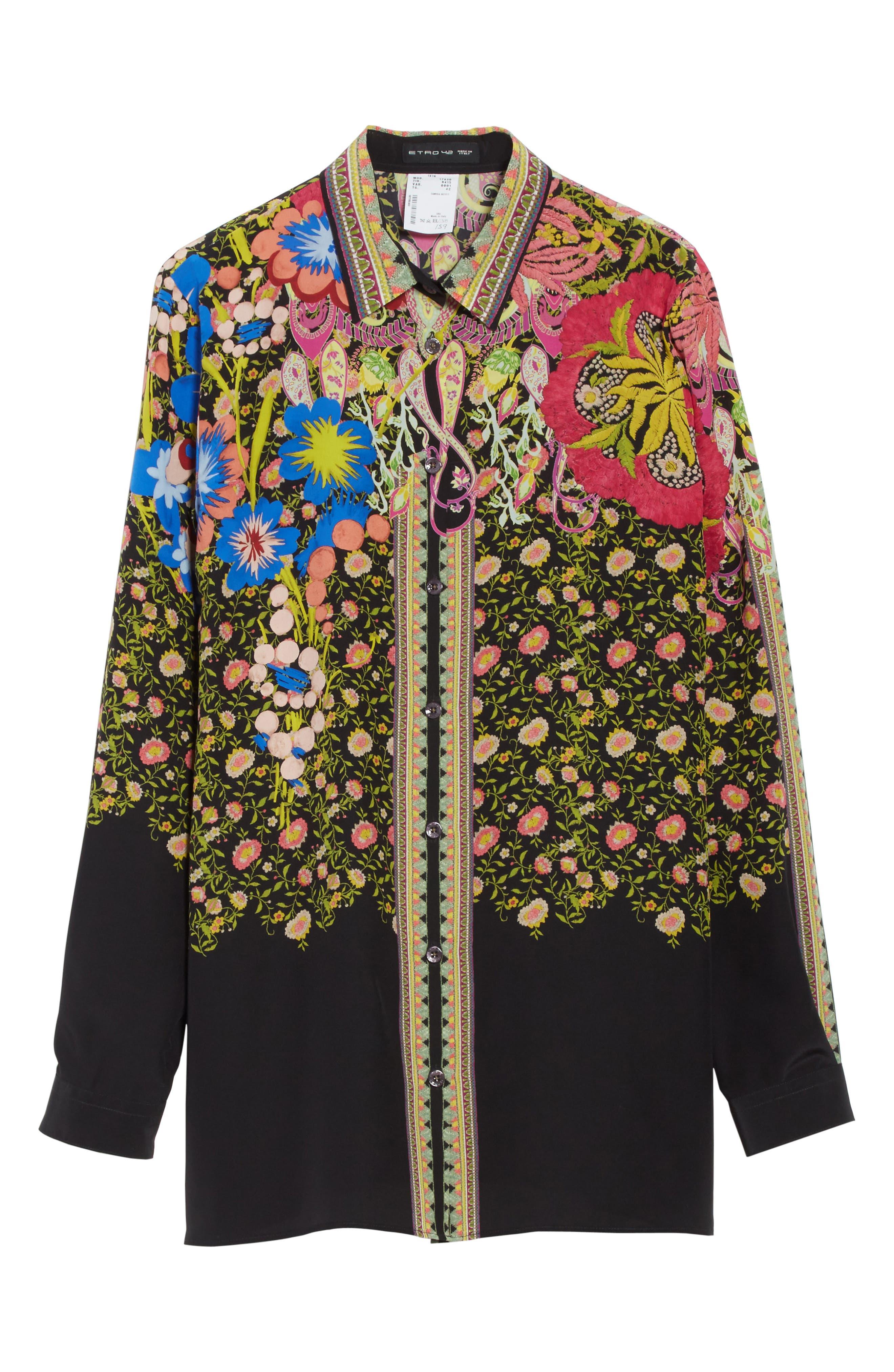 Floral Paisley Print Silk Shirt,                             Alternate thumbnail 6, color,                             001