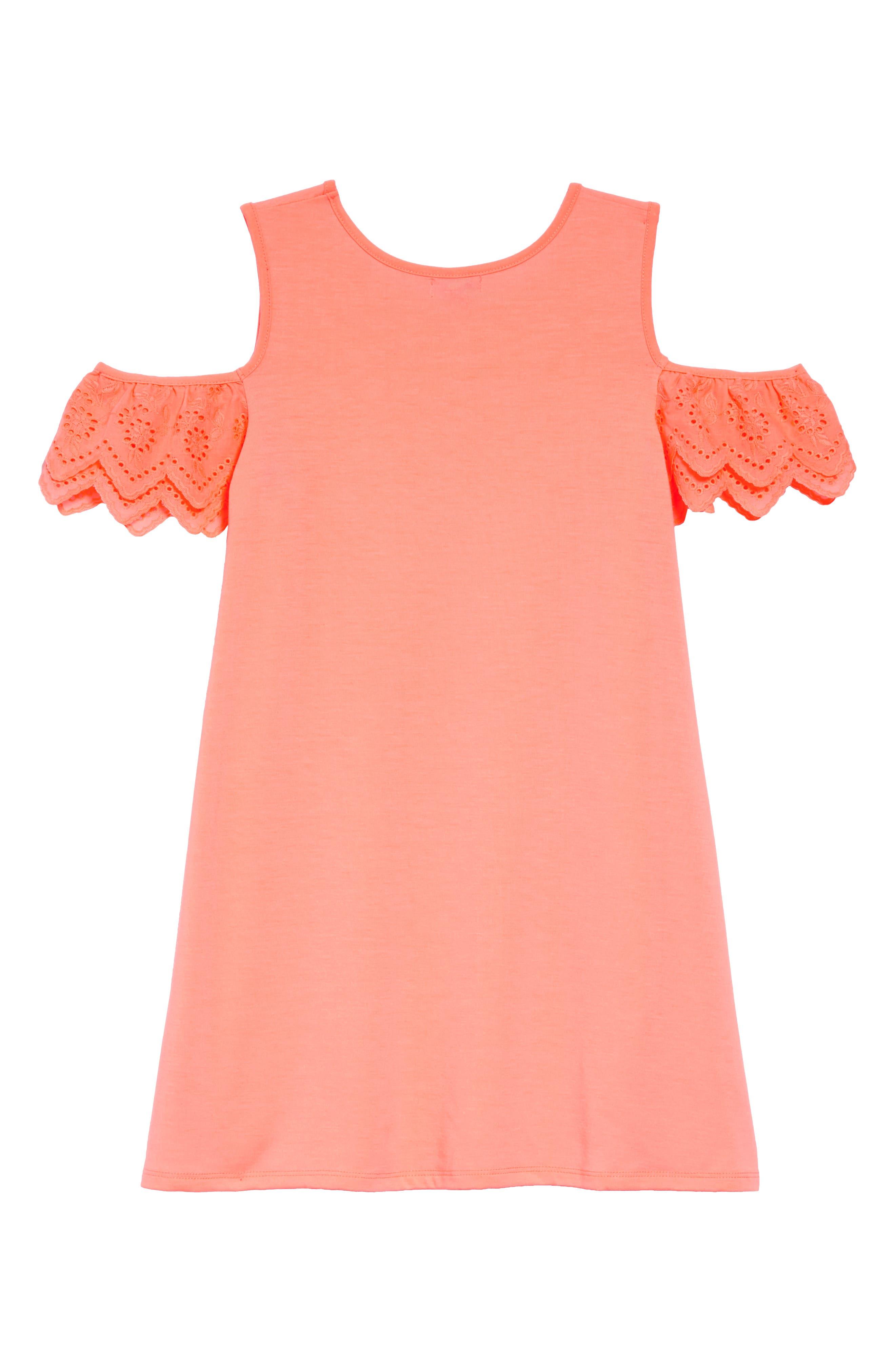 Eyelet Cold Shoulder T-Shirt Dress,                             Alternate thumbnail 2, color,                             NEON CORAL