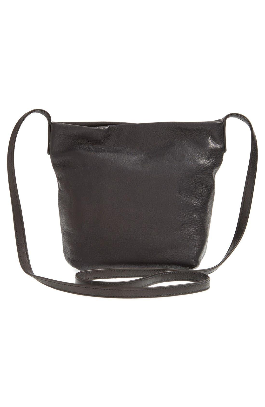 BAGGU,                              Leather Crossbody Bag,                             Alternate thumbnail 3, color,                             004