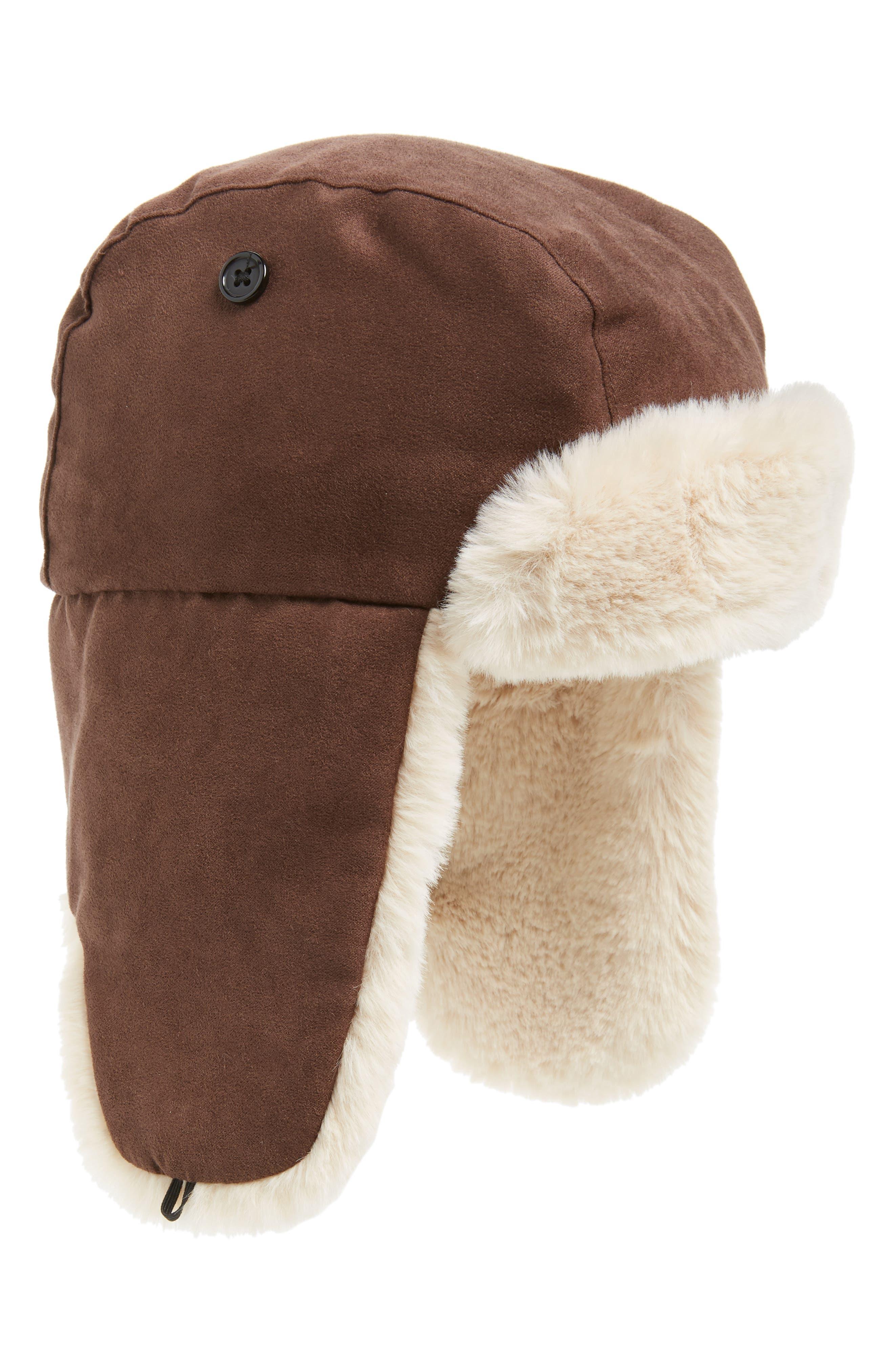 Faux Fur Lined Trapper Hat,                         Main,                         color, DARK BROWN