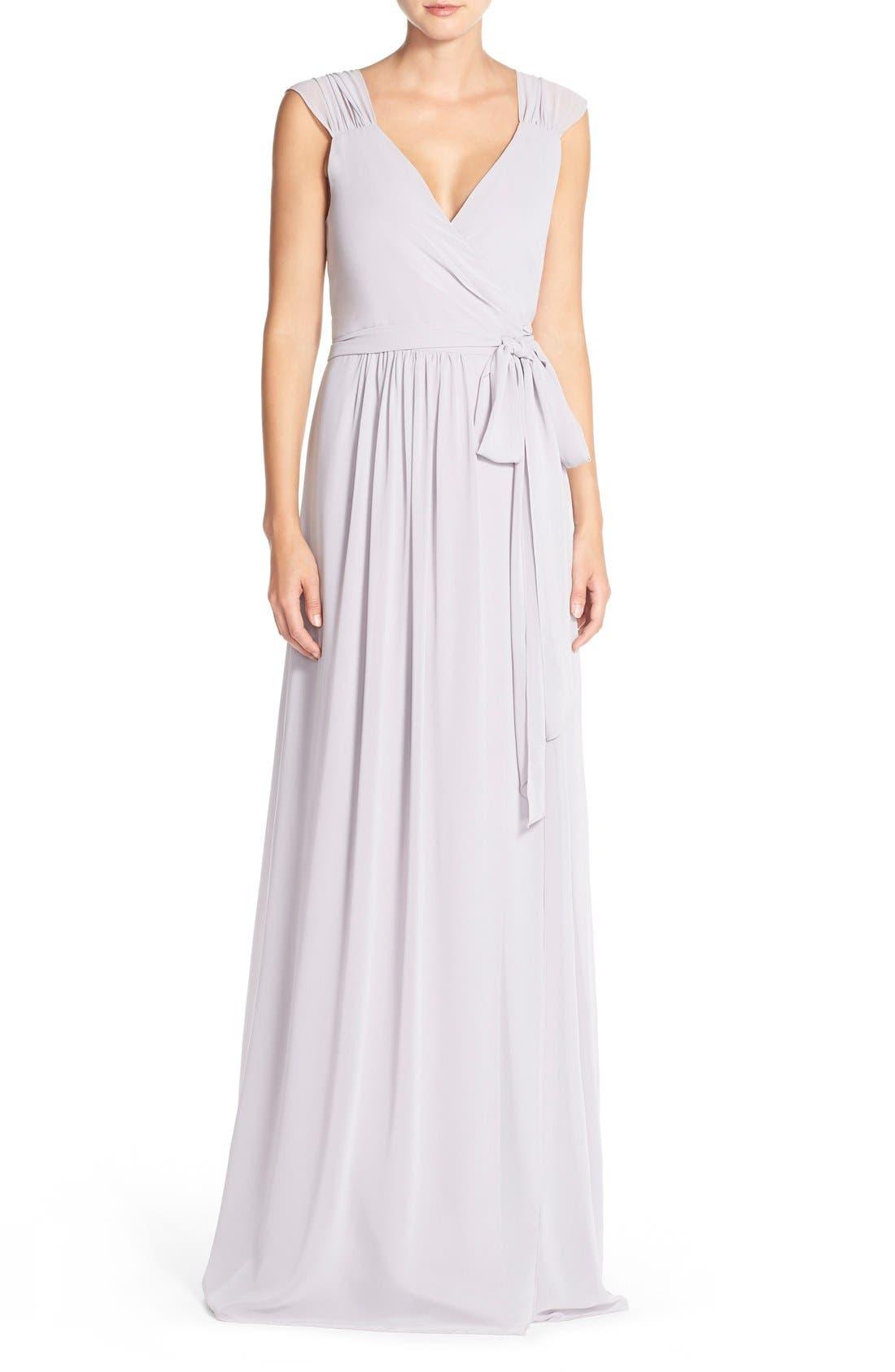 Newbury Gathered Sleeve Chiffon Wrap Gown,                             Main thumbnail 3, color,