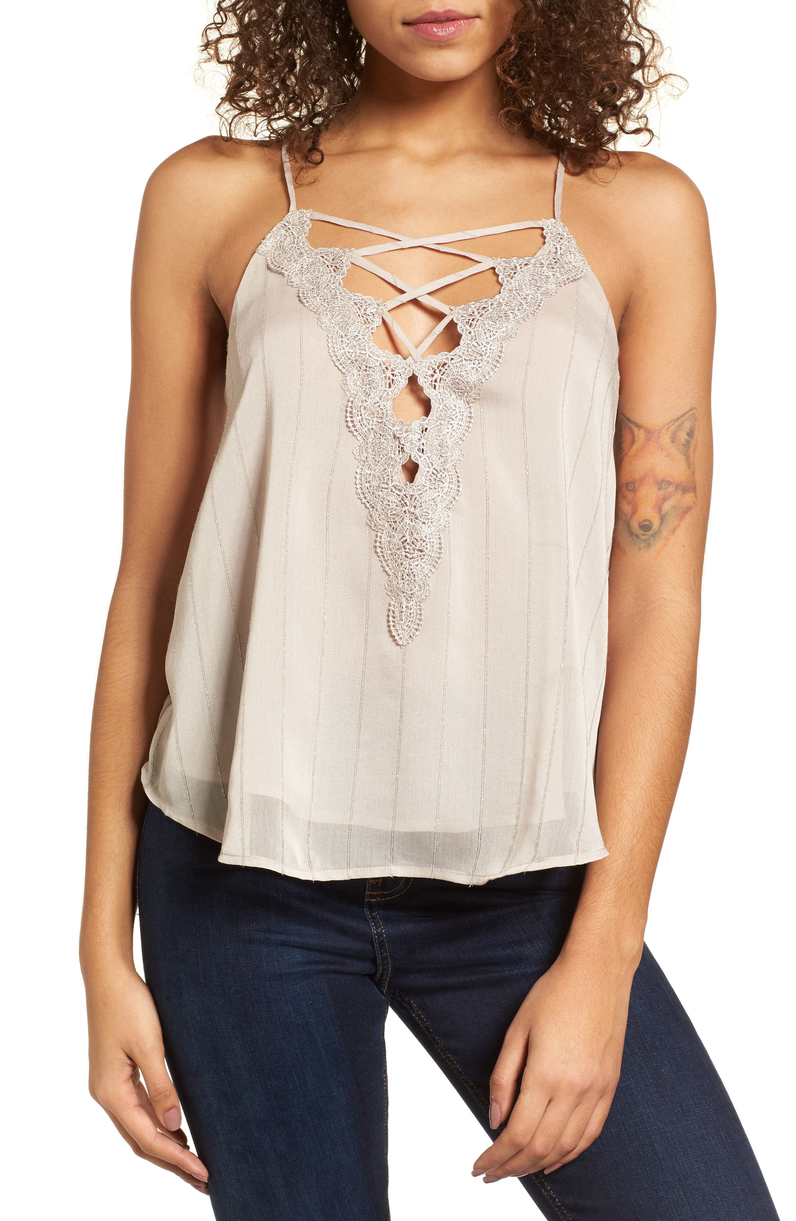 Lace-Up Camisole,                             Main thumbnail 2, color,
