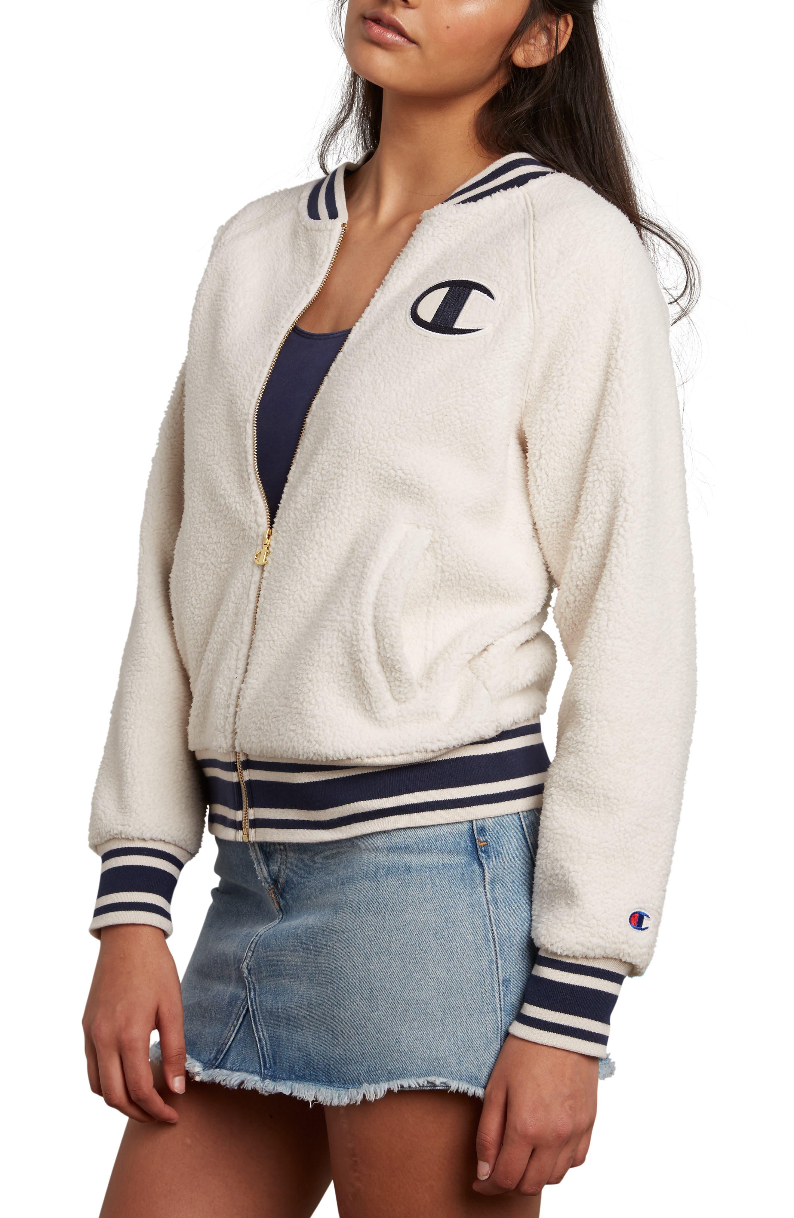 Fleece Bomber Jacket,                         Main,                         color, QUARTZ CREAM