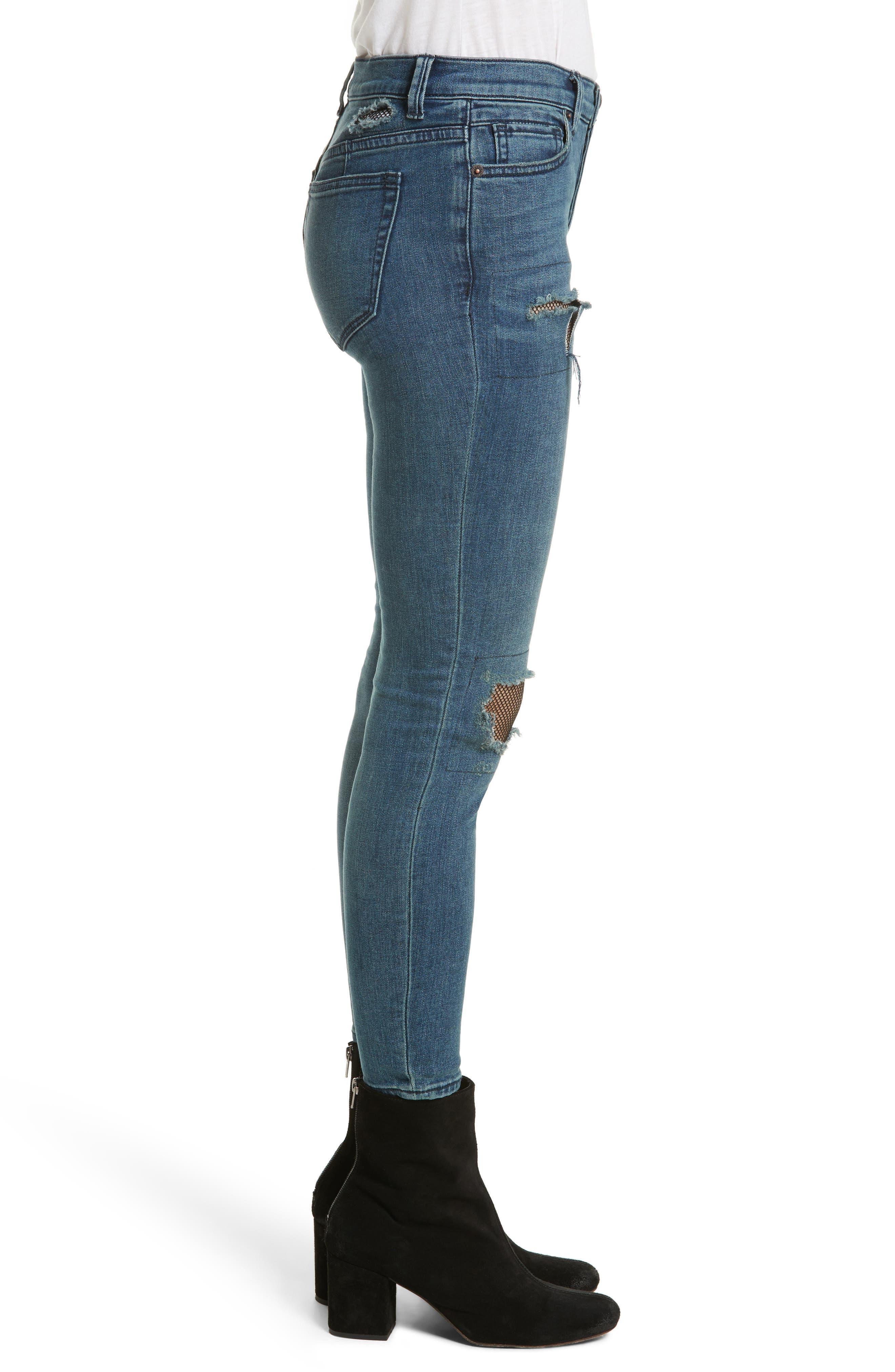 Fishnet Skinny Jeans,                             Alternate thumbnail 3, color,                             400