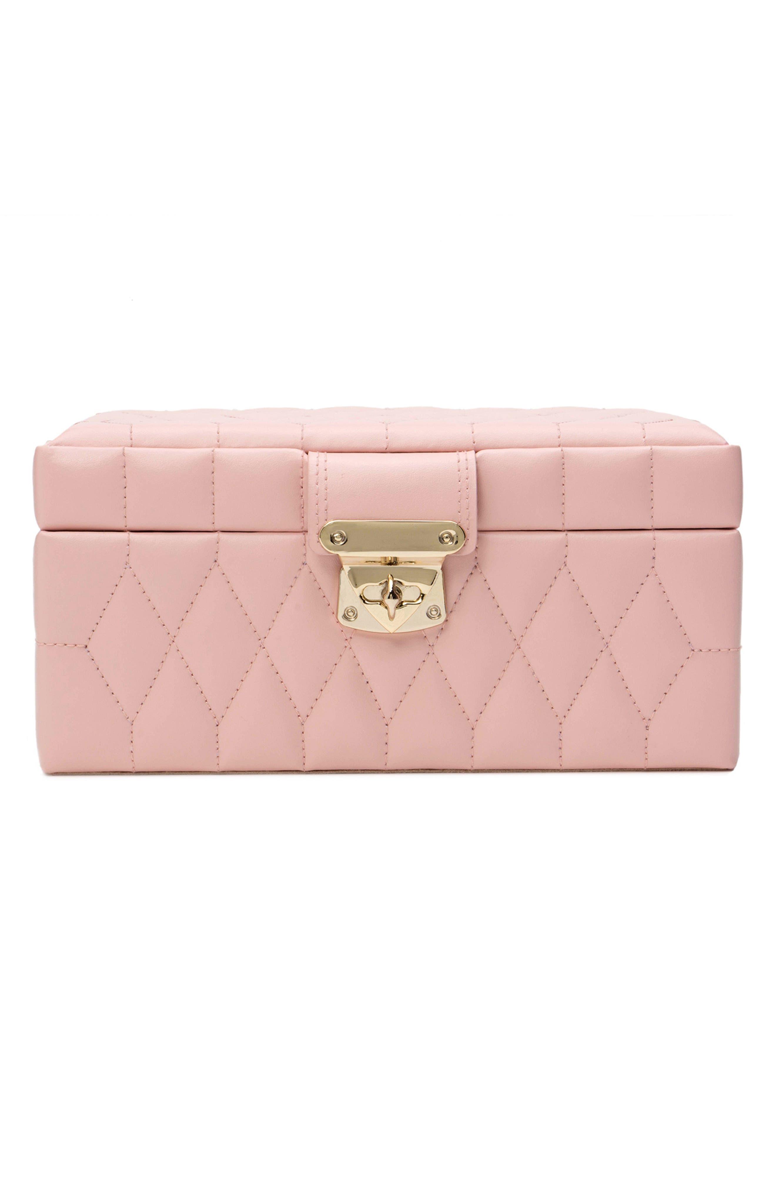 WOLF Caroline Small Travel Jewelry Case - Pink in Rose Quartz