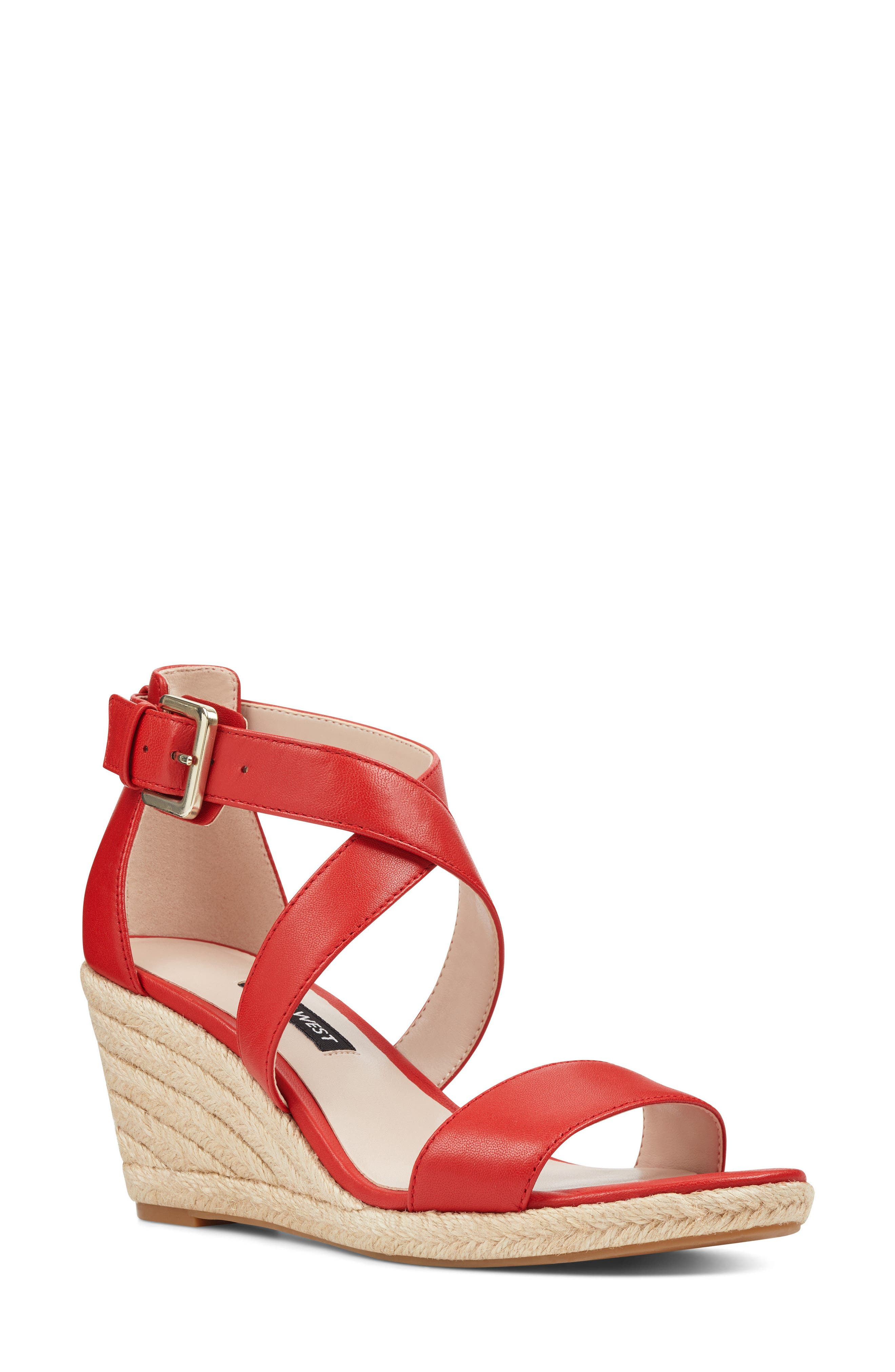 Jorjapeach Espadrille Wedge Sandal,                         Main,                         color, RED LEATHER
