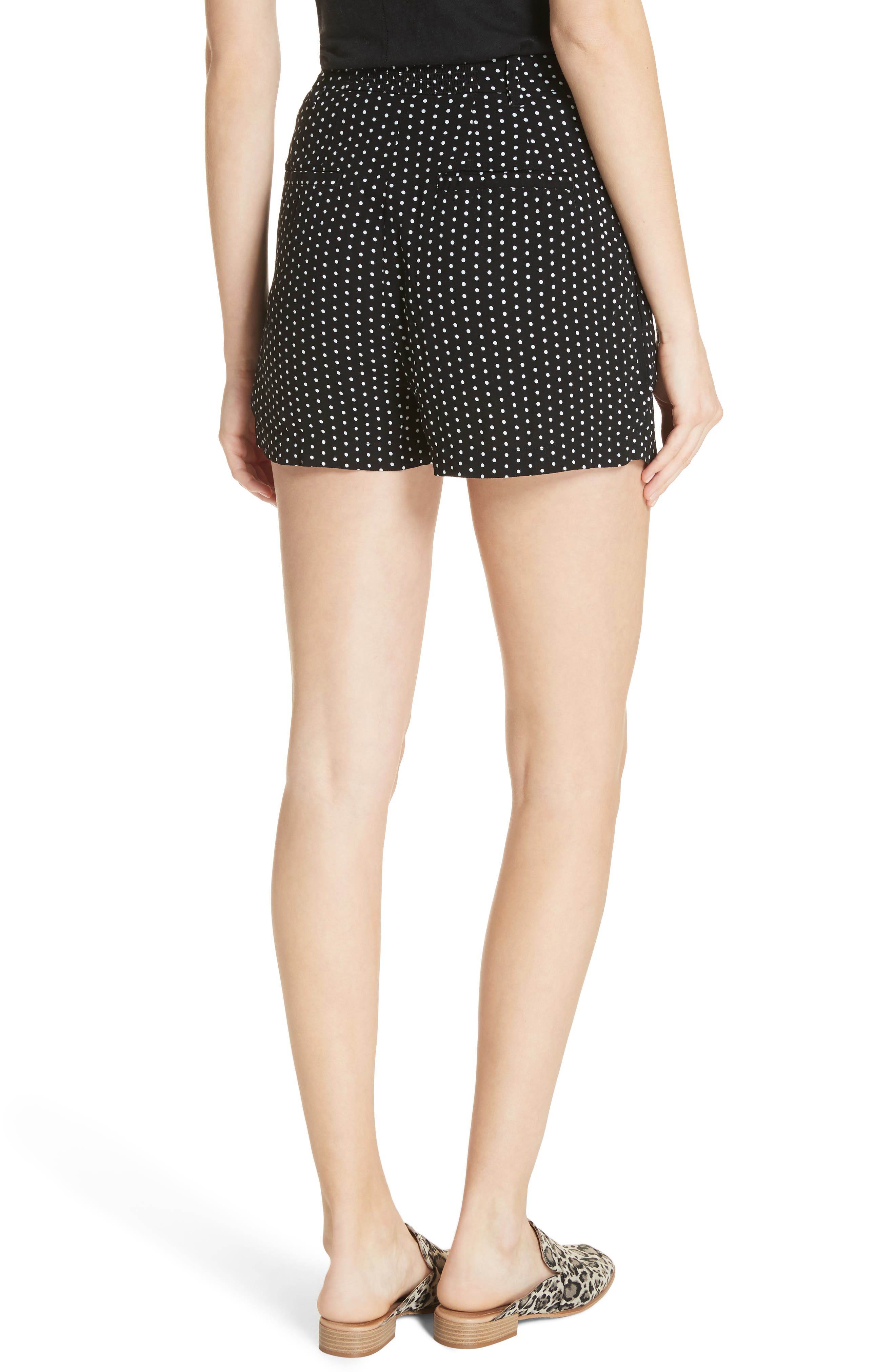 Magdalene Polka Dot Pleated Shorts,                             Alternate thumbnail 2, color,                             001