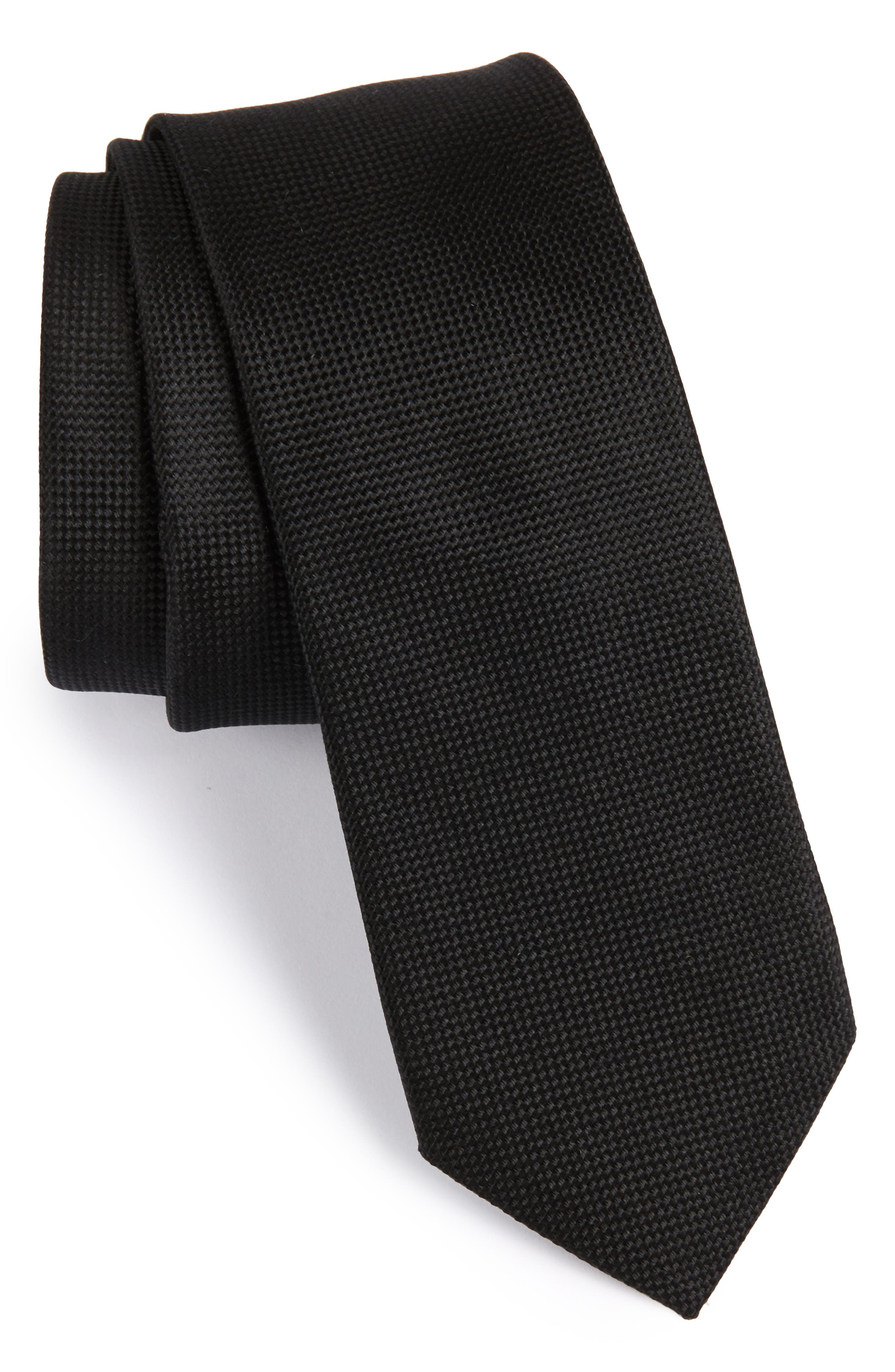 Oxford Solid Silk Skinny Tie,                             Main thumbnail 1, color,                             001