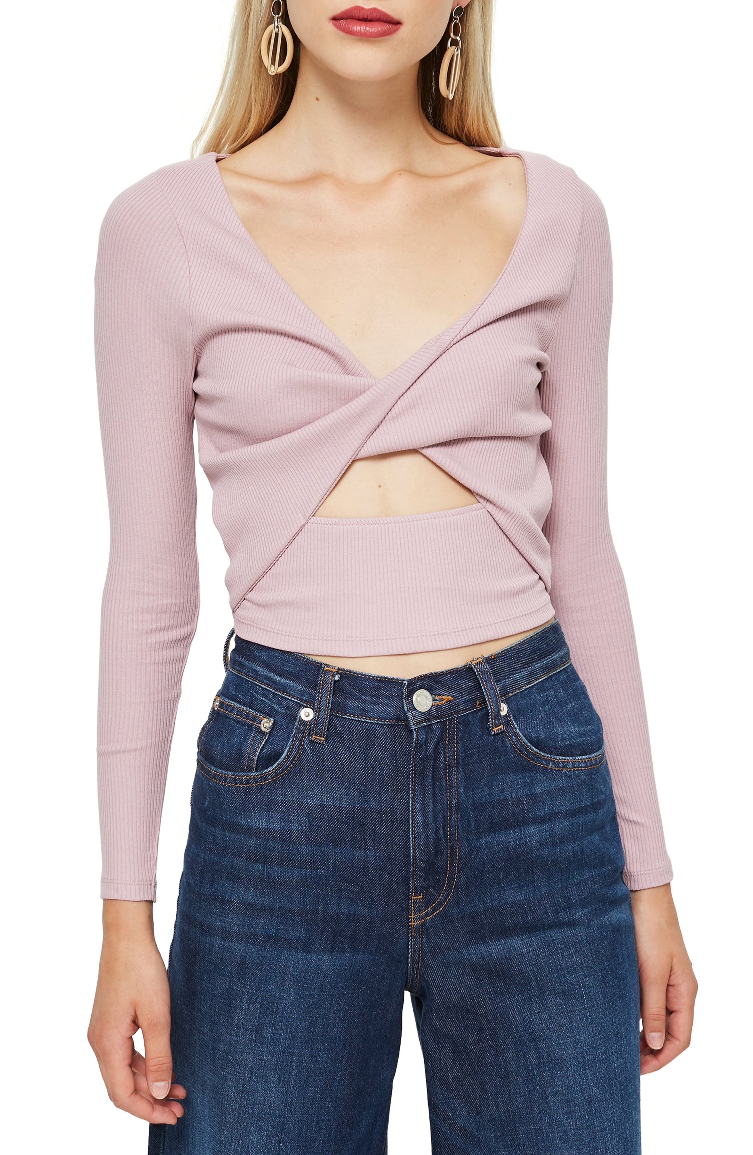 Twist Front Rib Top,                         Main,                         color, LILAC