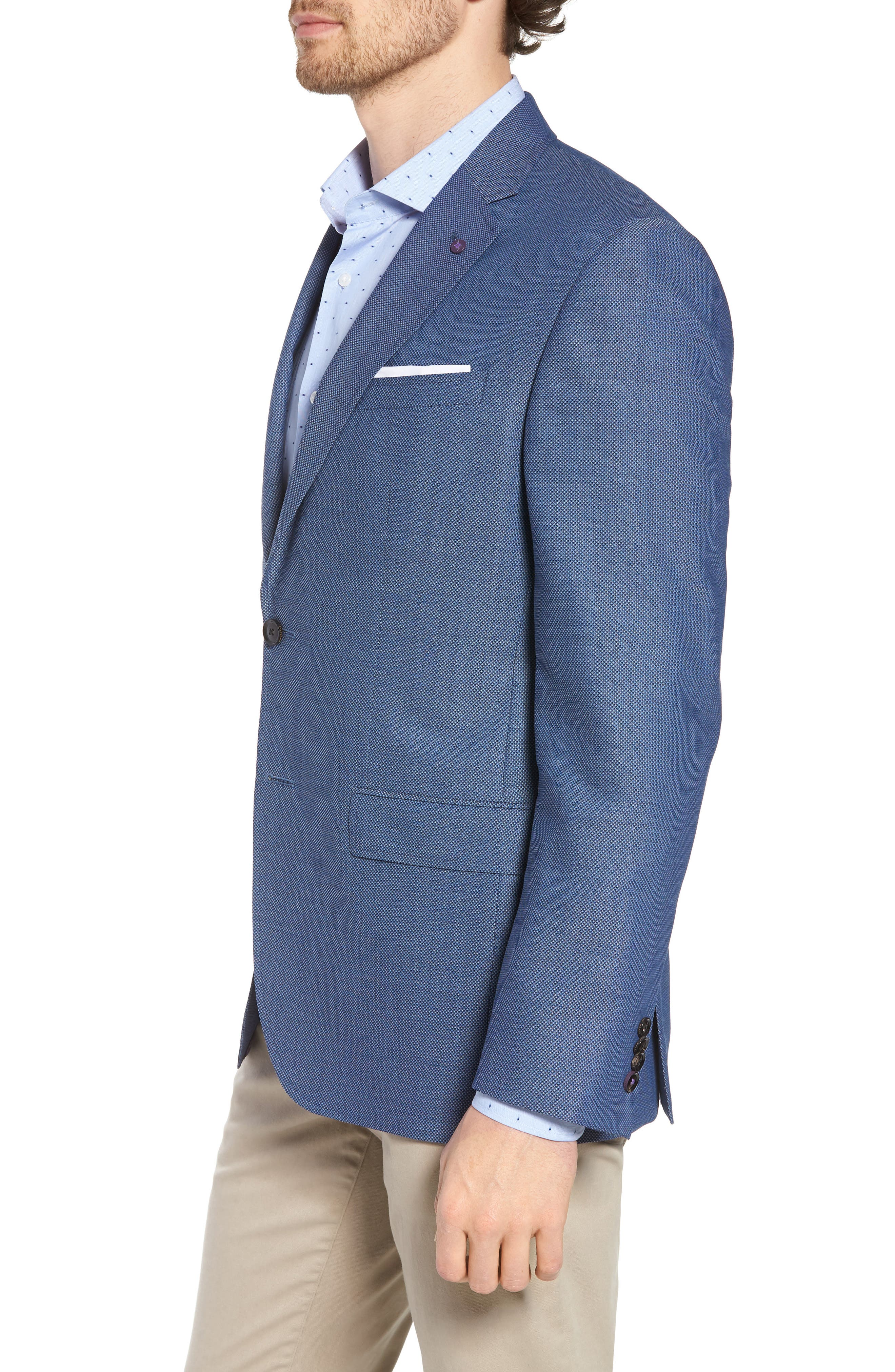 Jay Trim Fit Wool Blazer,                             Alternate thumbnail 3, color,                             400