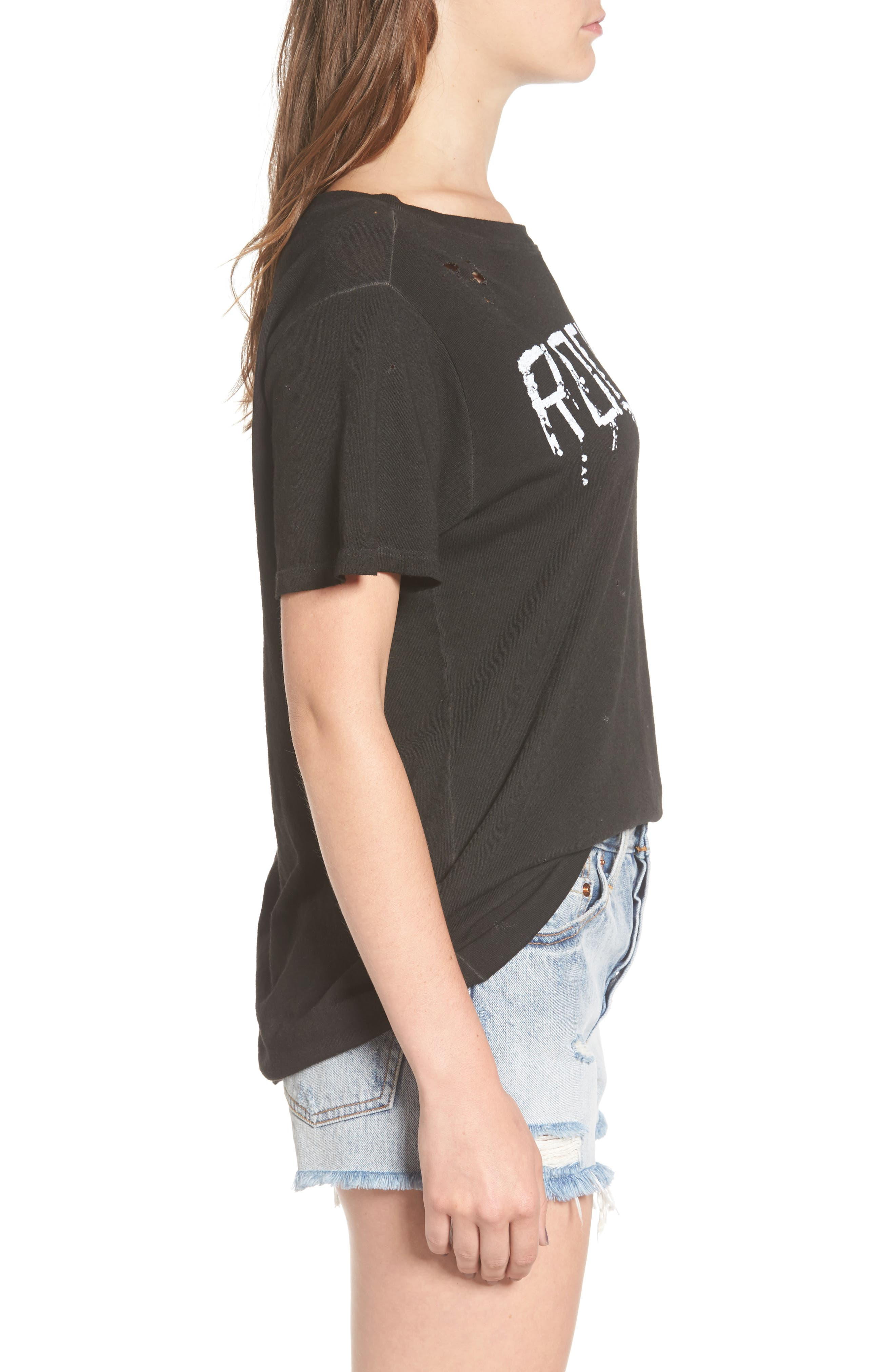 Rock & Roll Distressed Tee,                             Alternate thumbnail 3, color,                             001