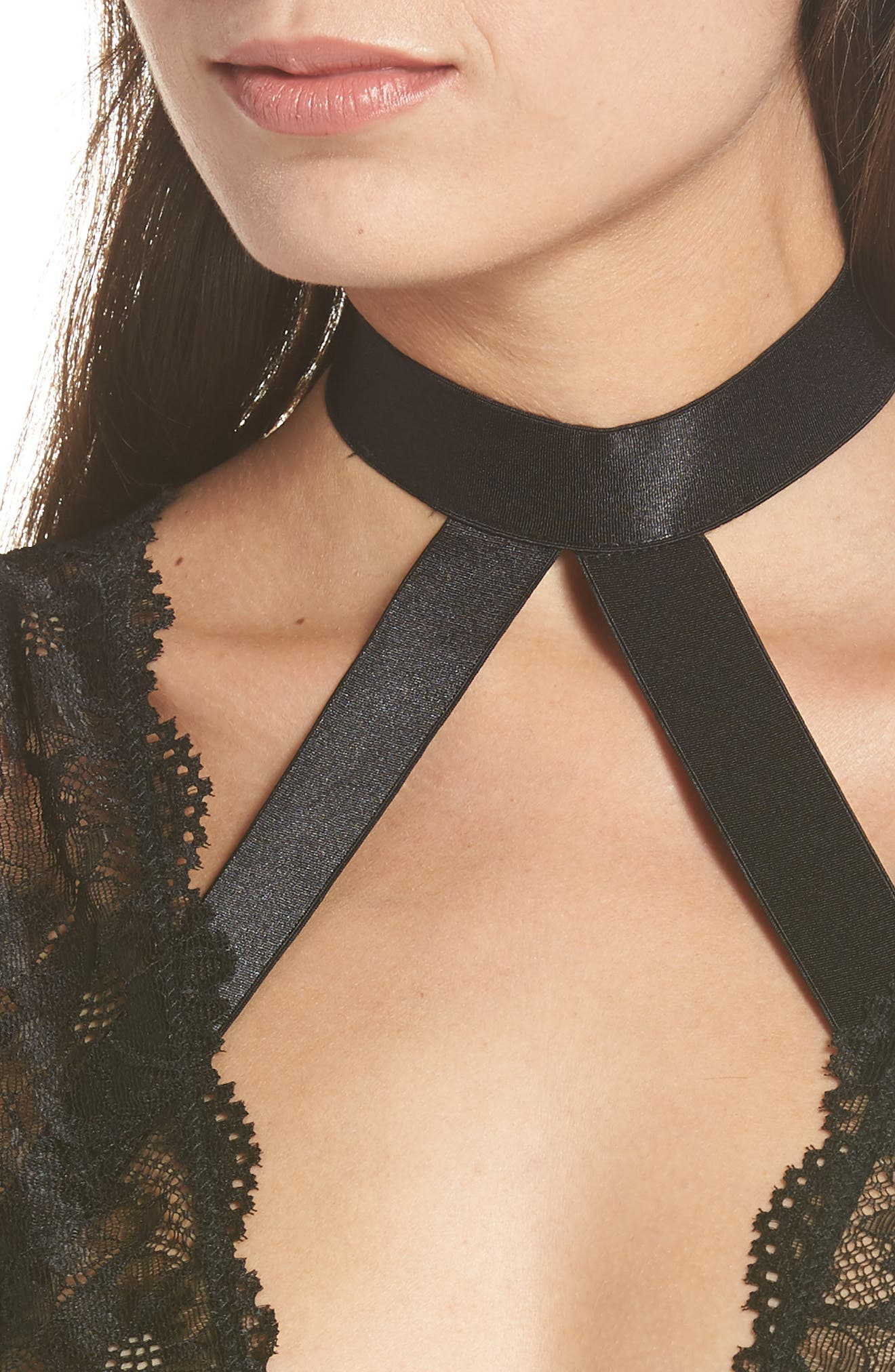 Harness Lace Teddy,                             Alternate thumbnail 4, color,                             BLACK