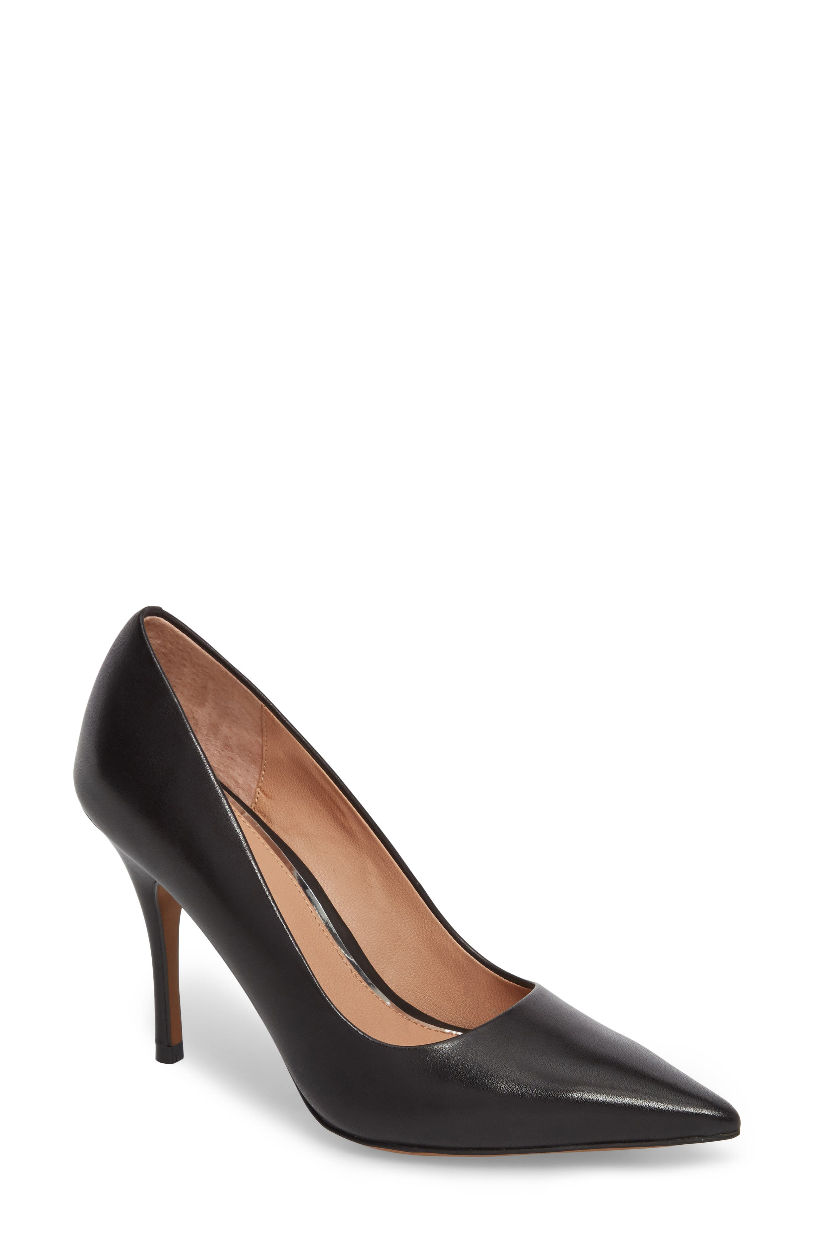 Payton Pointy Toe Pump,                         Main,                         color, BLACK LEATHER