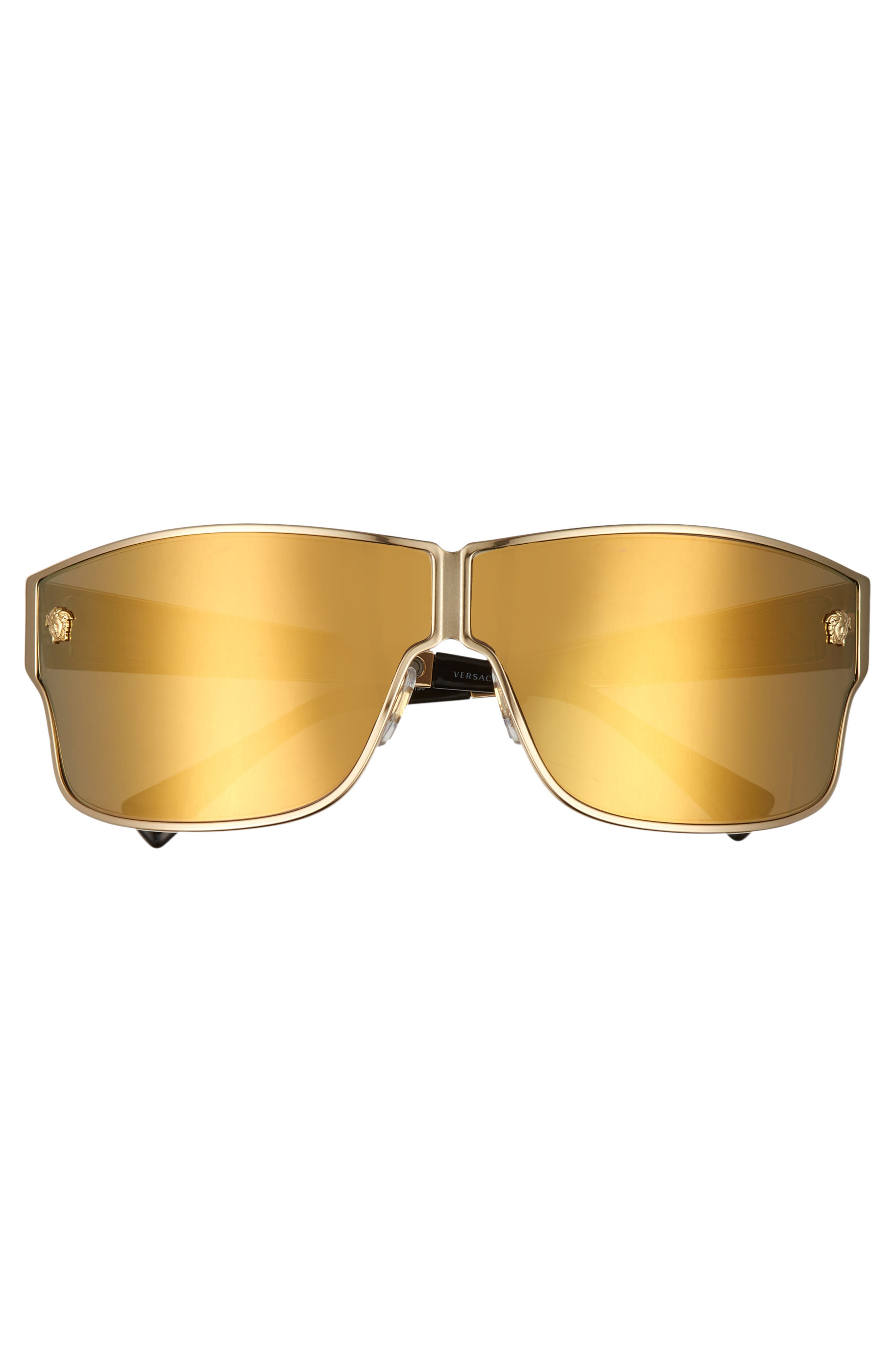 Medusa 72mm Mirrored Shield Sunglasses,                             Alternate thumbnail 3, color,                             GOLD/ GOLD MIRROR