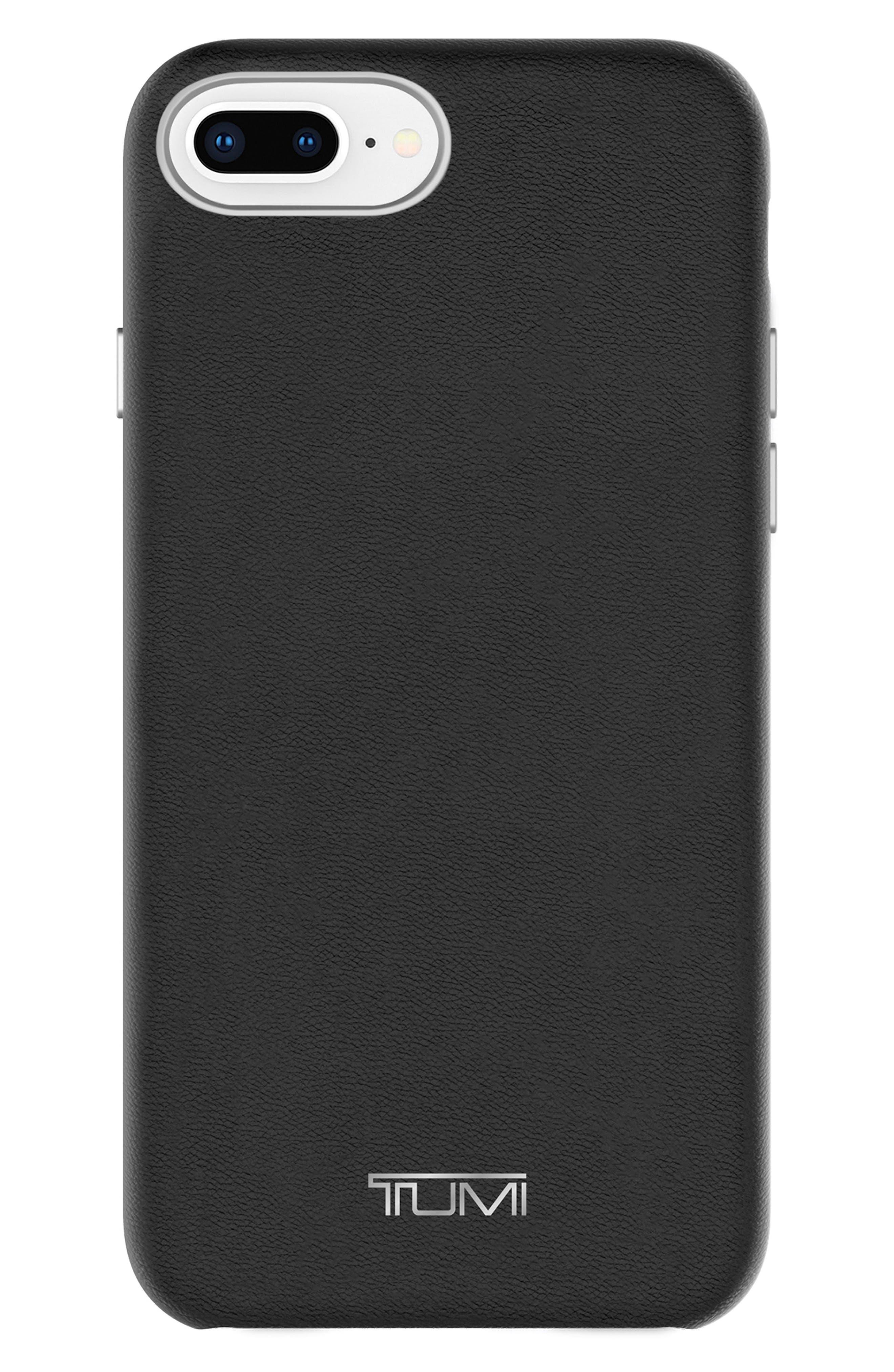 Leather Wrap iPhone 8 Plus Case,                             Main thumbnail 1, color,                             BLACK