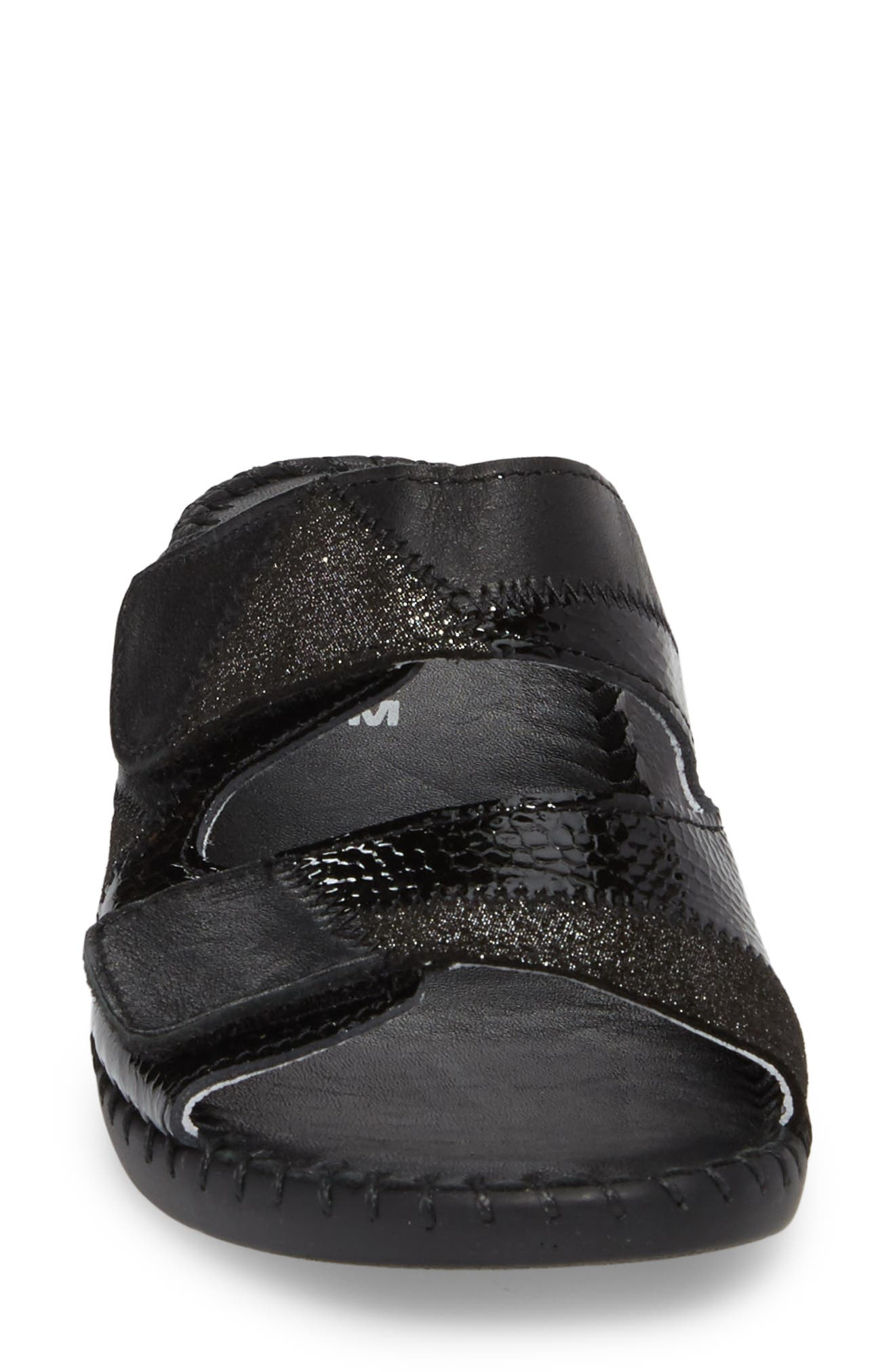 Flex Slide Sandal,                             Alternate thumbnail 4, color,                             BLACK LEATHER