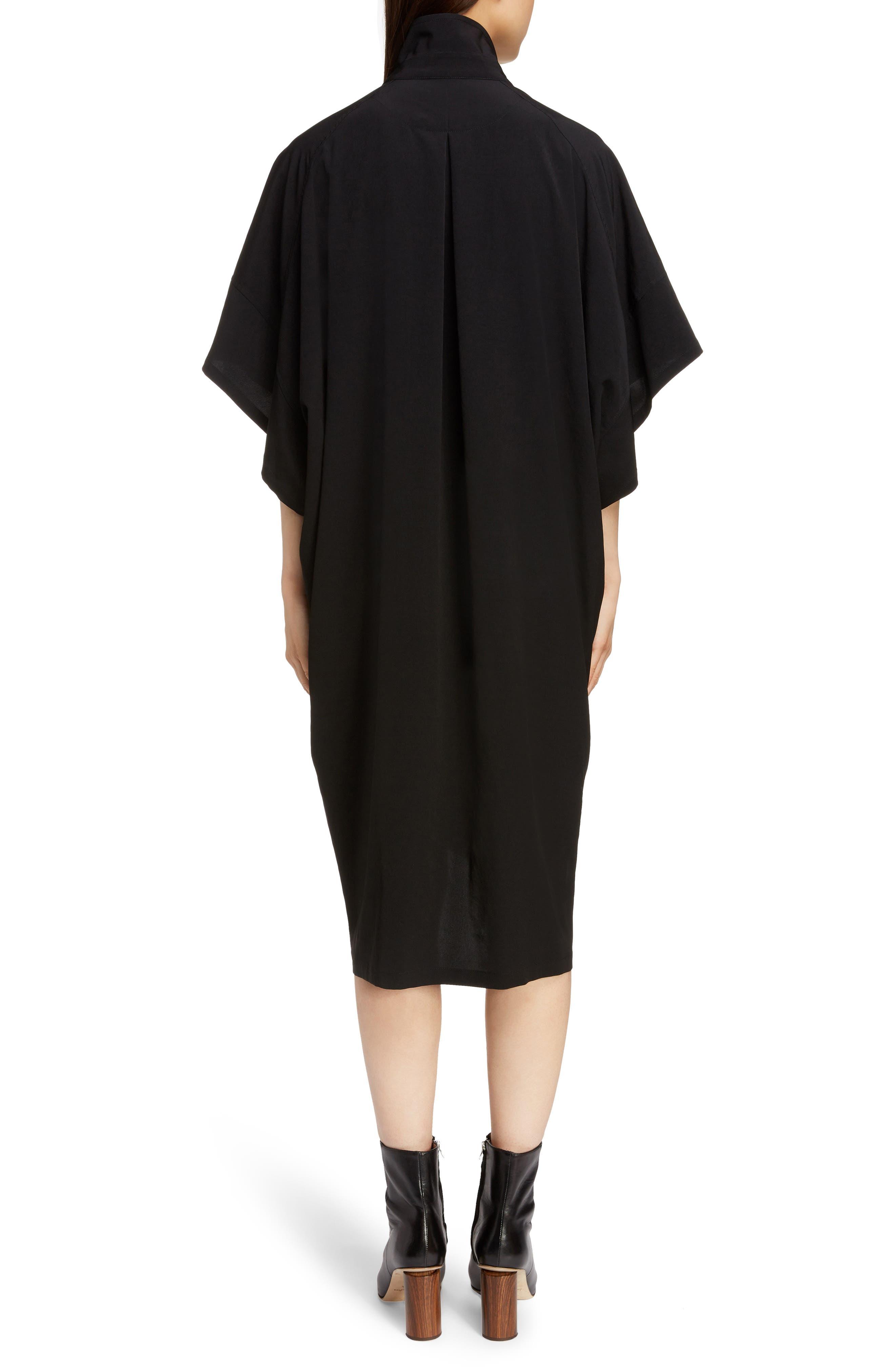 Stand Collar Flare Dress,                             Alternate thumbnail 2, color,                             BLACK