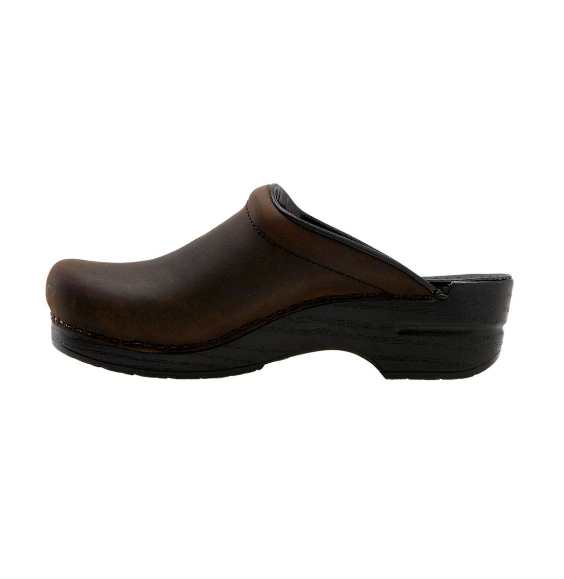 'Sonja' Oiled Leather Clog,                             Alternate thumbnail 4, color,                             ANTIQUE BROWN OILED