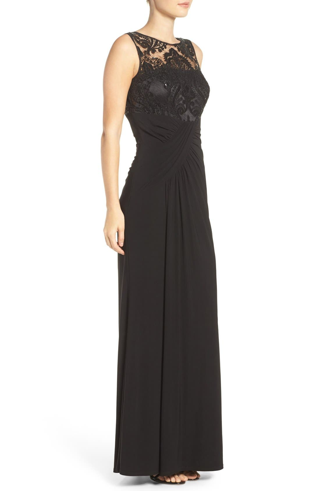 Draped Sleeveless Gown,                             Alternate thumbnail 4, color,                             001