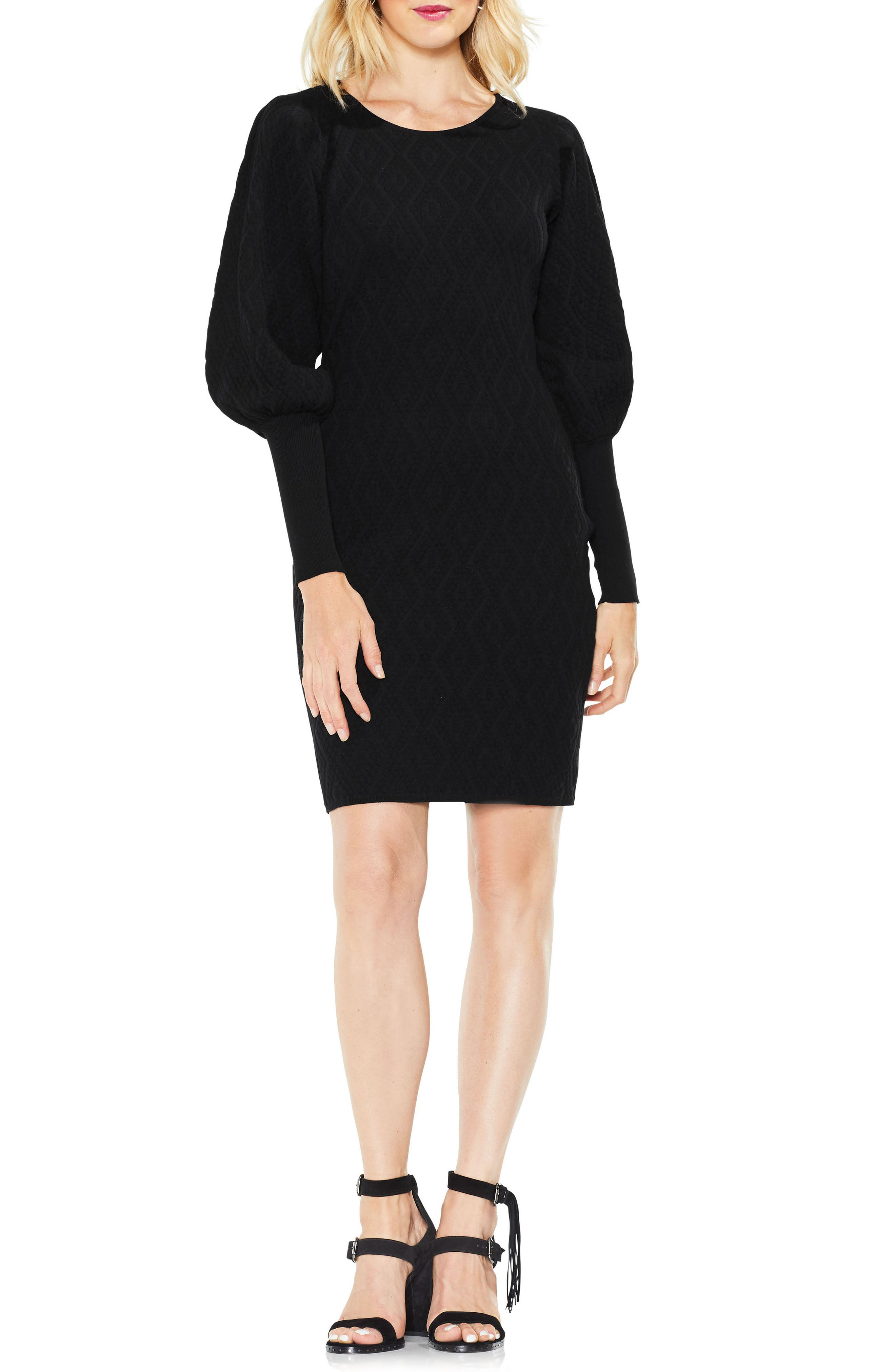 Bubble Sleeve Textured Jacquard Dress,                         Main,                         color, 010