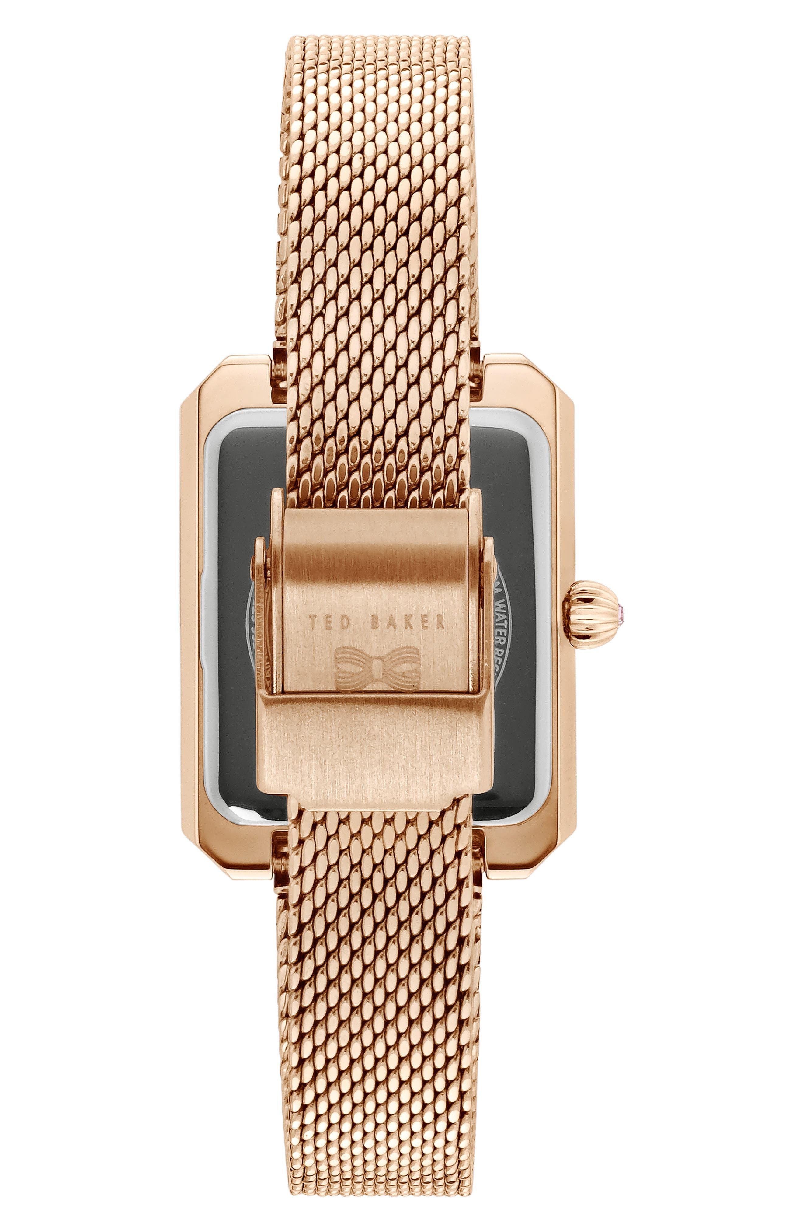 Cara Mesh Strap Watch, 22mm,                             Alternate thumbnail 2, color,                             ROSE GOLD/ GREEN/ ROSE GOLD