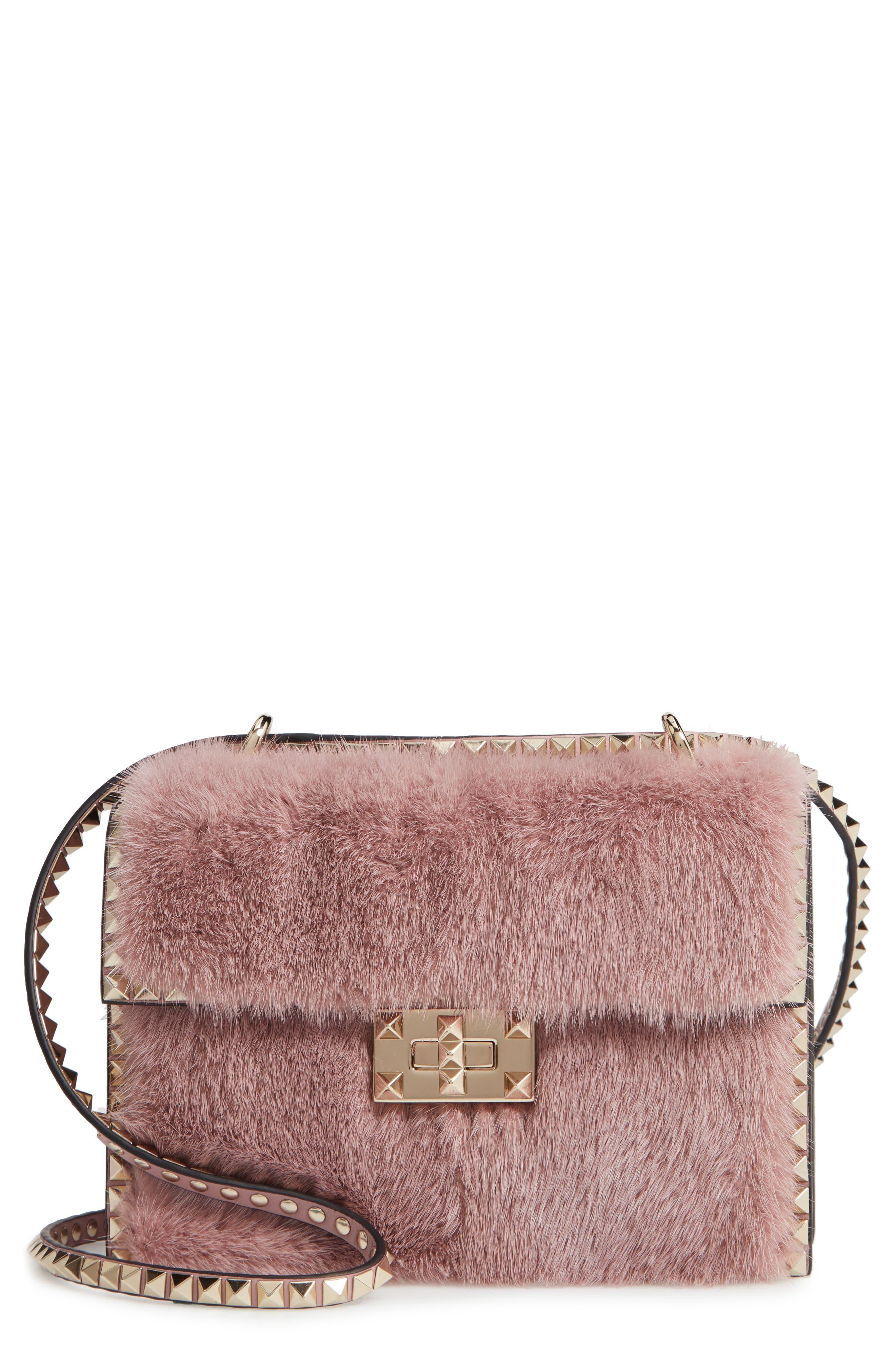 Small Rockstud Genuine Mink Fur Shoulder Bag,                         Main,                         color, LIP