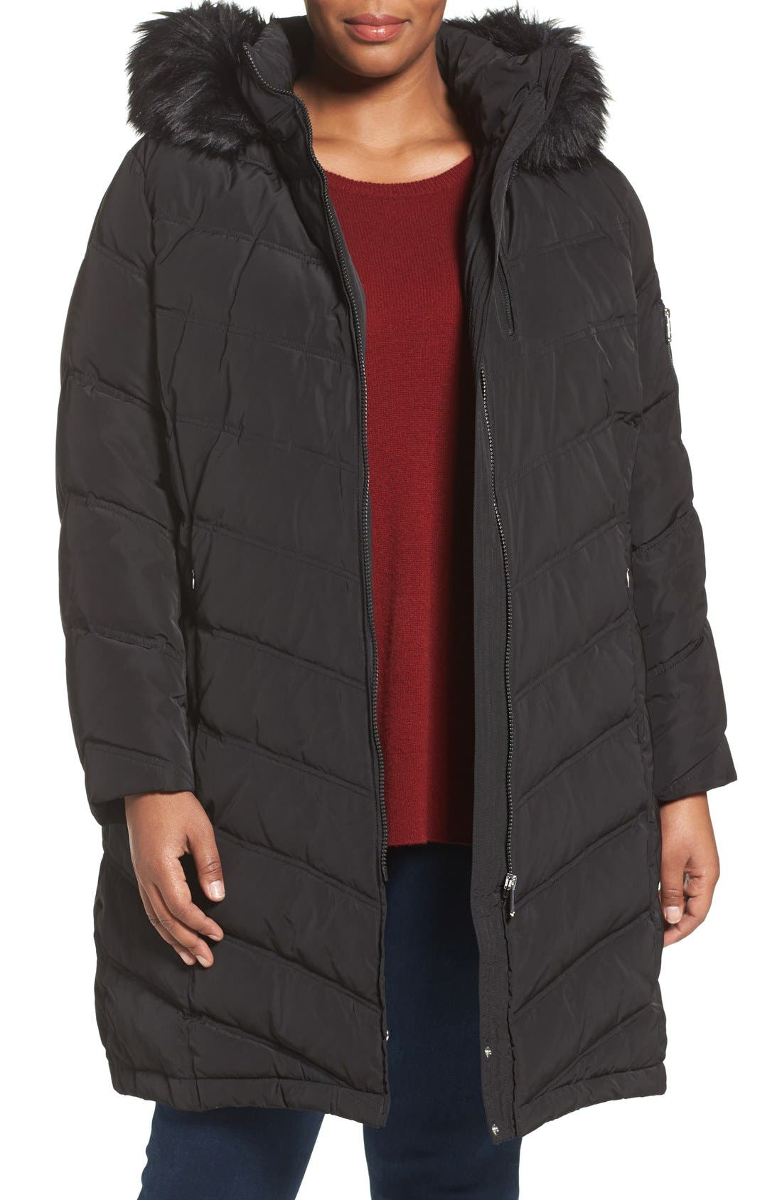 CALVIN KLEIN Water Resistant Puffer Coat with Faux Fur Trim, Main, color, 001
