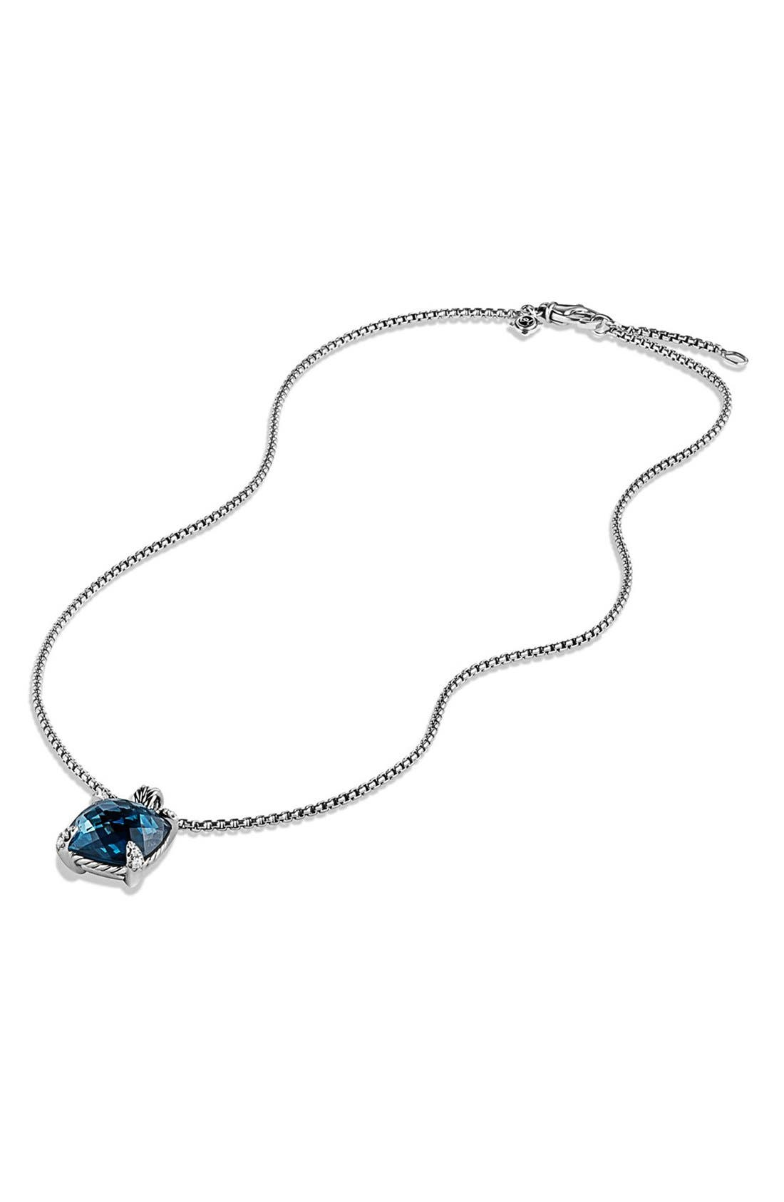 'Châtelaine' Pendant Necklace with Semiprecious Stone and Diamonds,                             Alternate thumbnail 4, color,                             SILVER/ HAMPTON BLUE TOPAZ