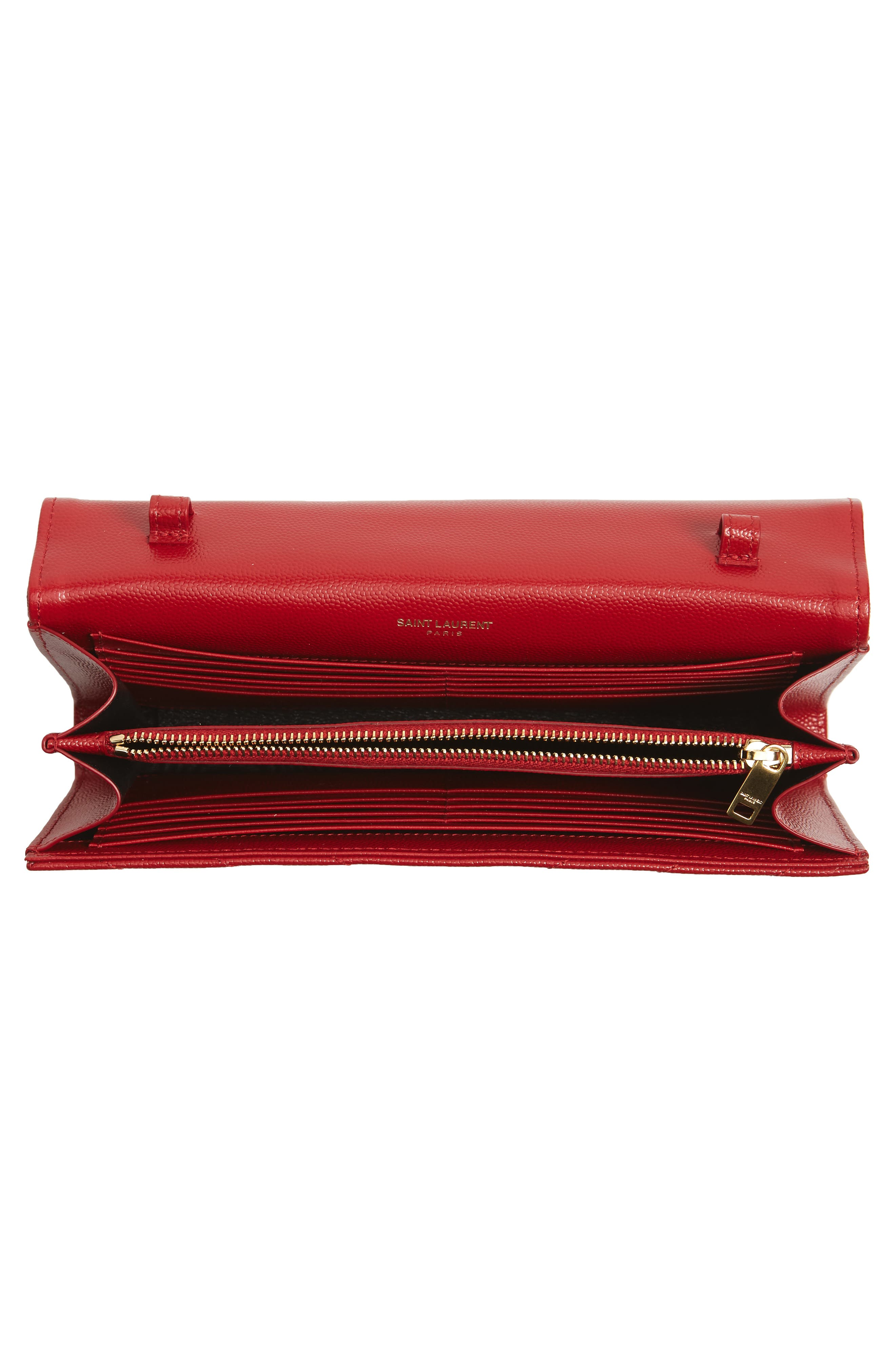 'Large Monogram' Quilted Leather Wallet on a Chain,                             Alternate thumbnail 4, color,                             ROUGE EROS